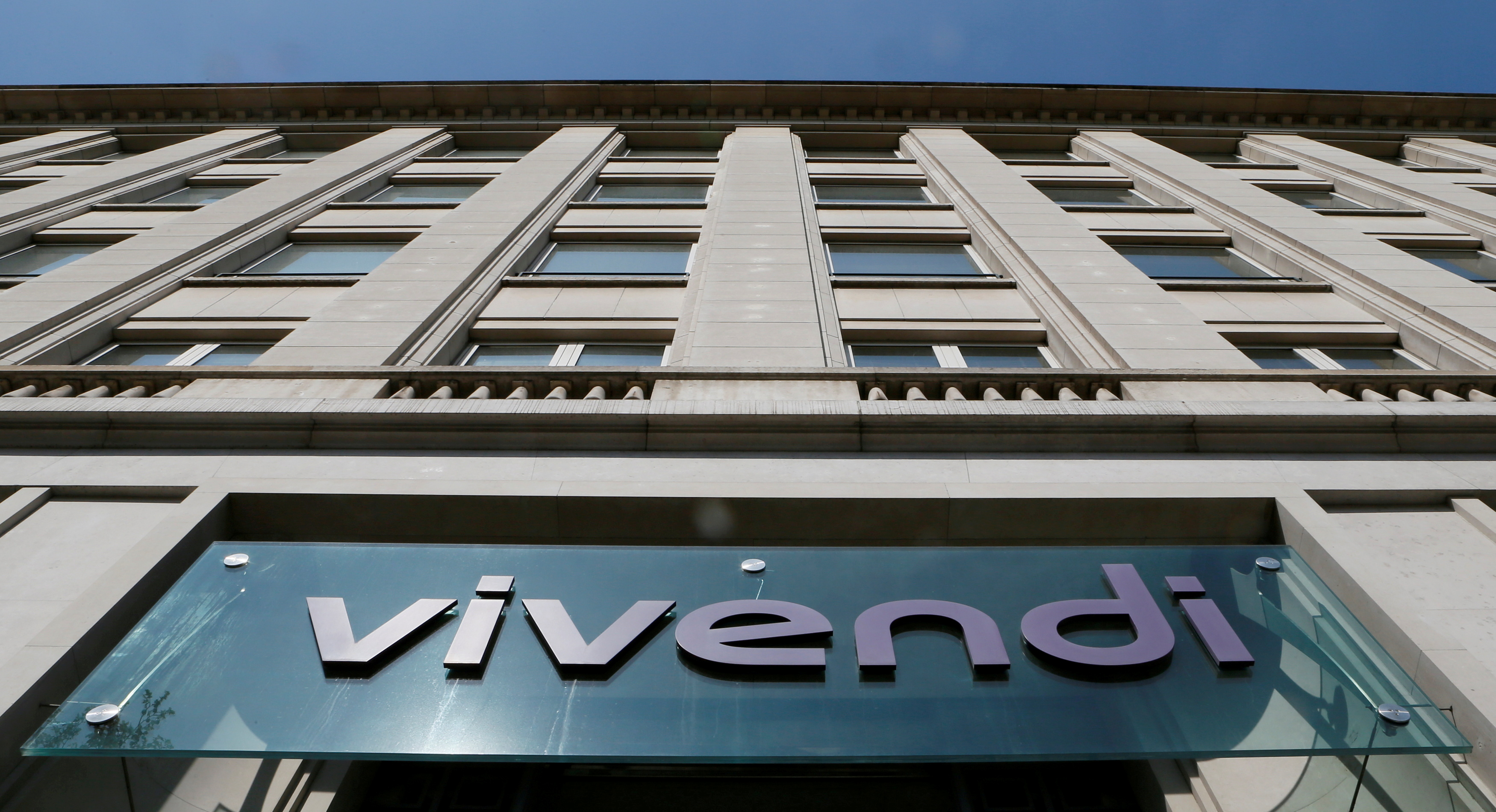 A Vivendi sign is seen at the company's headquarters in Paris, France, April 8, 2015. REUTERS/Gonzalo Fuentes