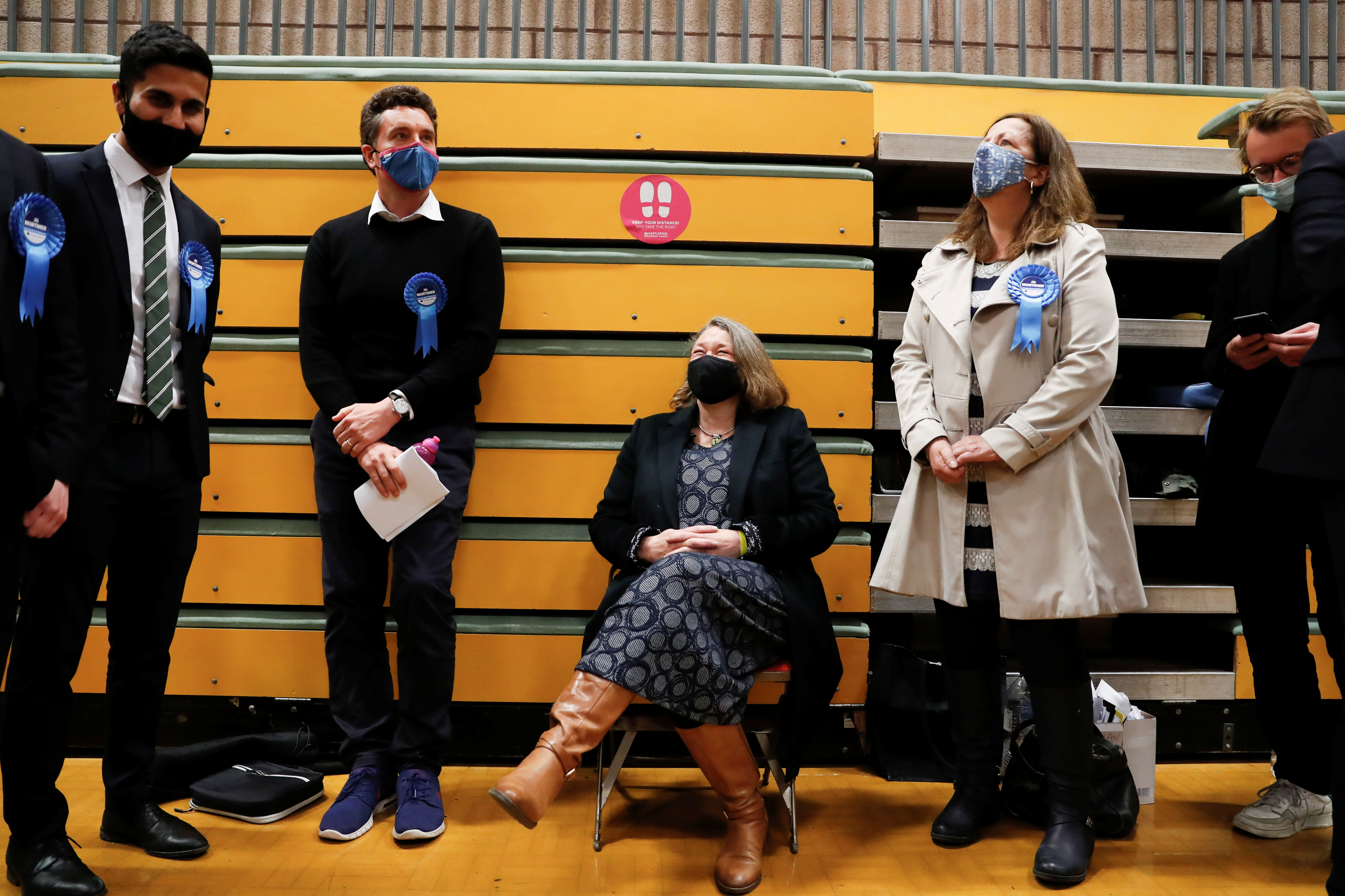 Jill Mortimer (C) of Conservative Party waits at Mill House Leisure Centre as ballots are being counted, in Hartlepool, Britain May 7, 2021. REUTERS/Lee Smith