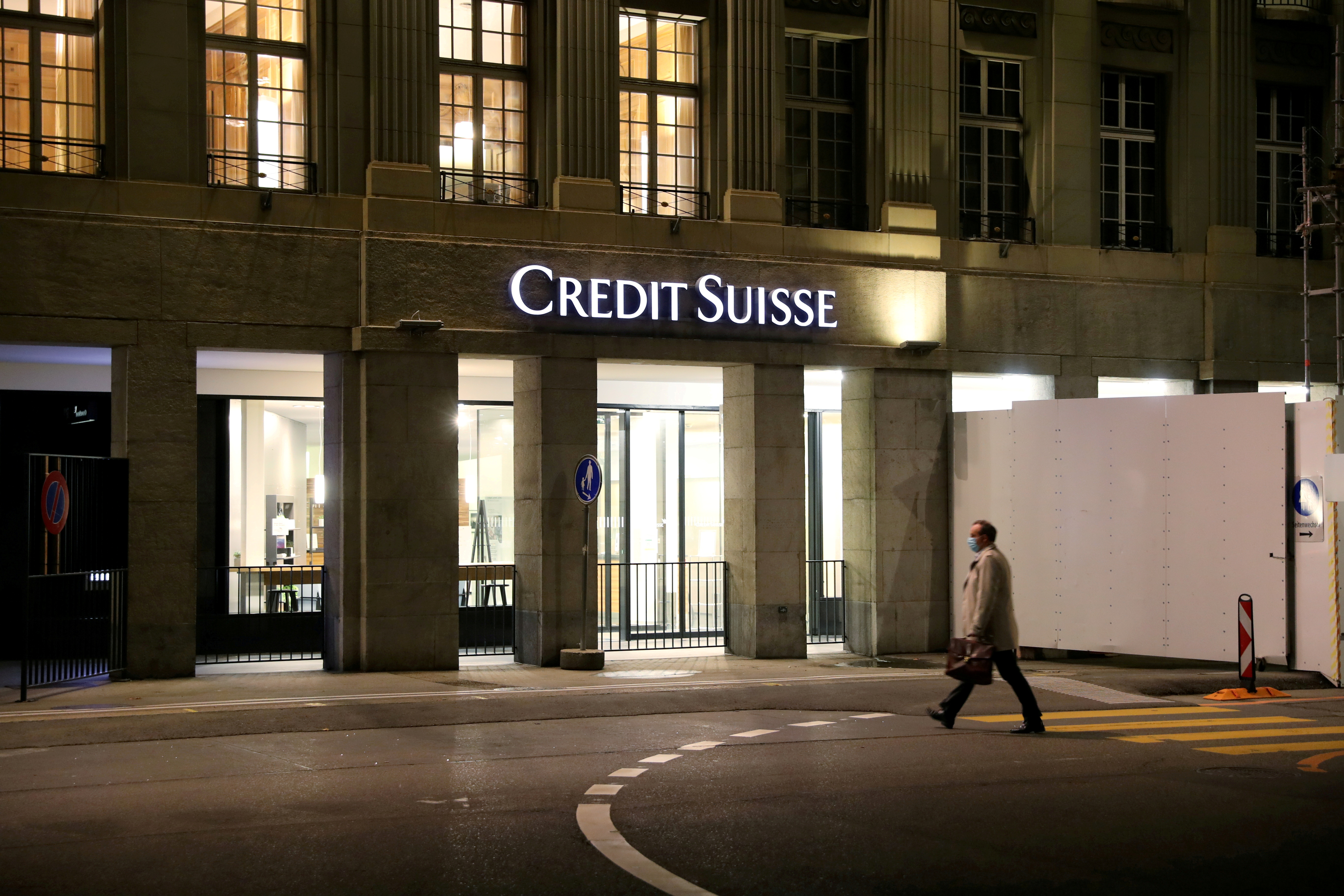 The logo of Swiss bank Credit Suisse is seen at a branch office in Bern, Switzerland, Oct. 28, 2020. REUTERS/Arnd Wiegmann