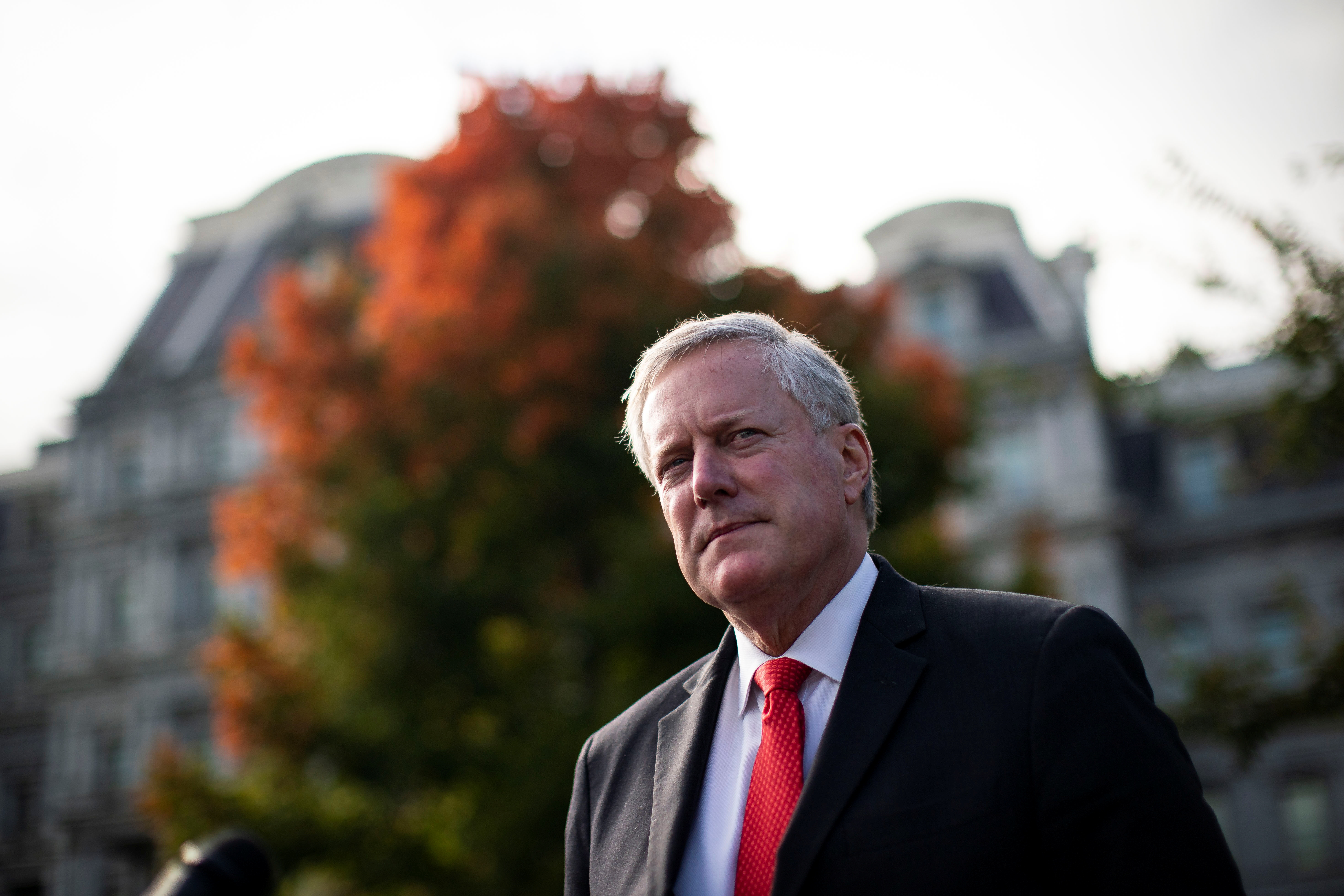 White House Chief of Staff Mark Meadows speaks to reporters following a television interview, outside the White House in Washington, U.S. October 21, 2020. REUTERS/Al Drago