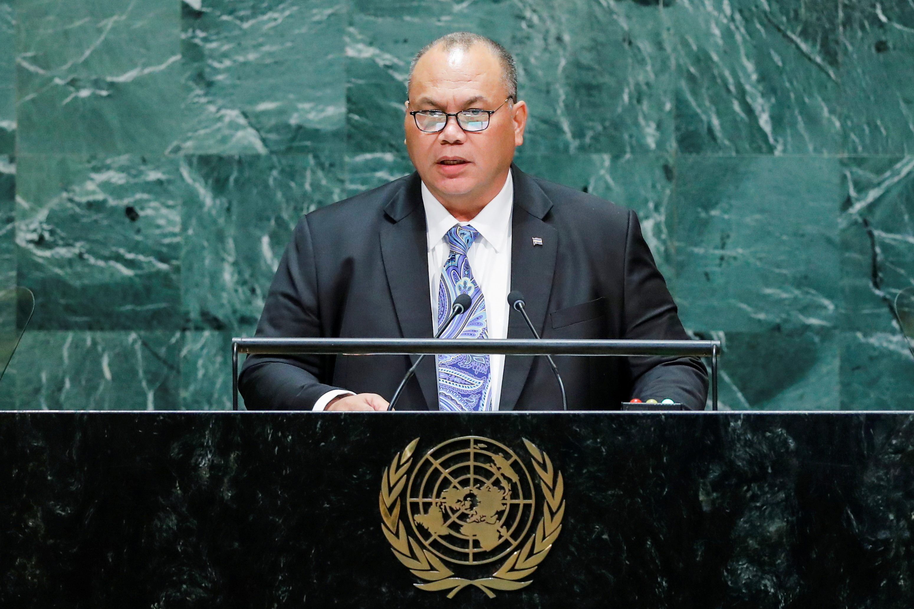 President of Nauru Lionel Rouwen Aingimea  addresses the 74th session of the United Nations General Assembly at U.N. headquarters in New York City, New York, U.S., September 26, 2019. REUTERS/Eduardo Munoz