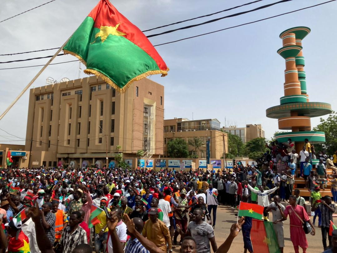Opposition parties supporters attend a protest to denounce the government's handling of the security situation following attacks by Islamist militants that have killed scores in the past weeks In Ouagadougou, Burkina Faso July 3, 2021.  REUTERS/Ndiaga Thiam