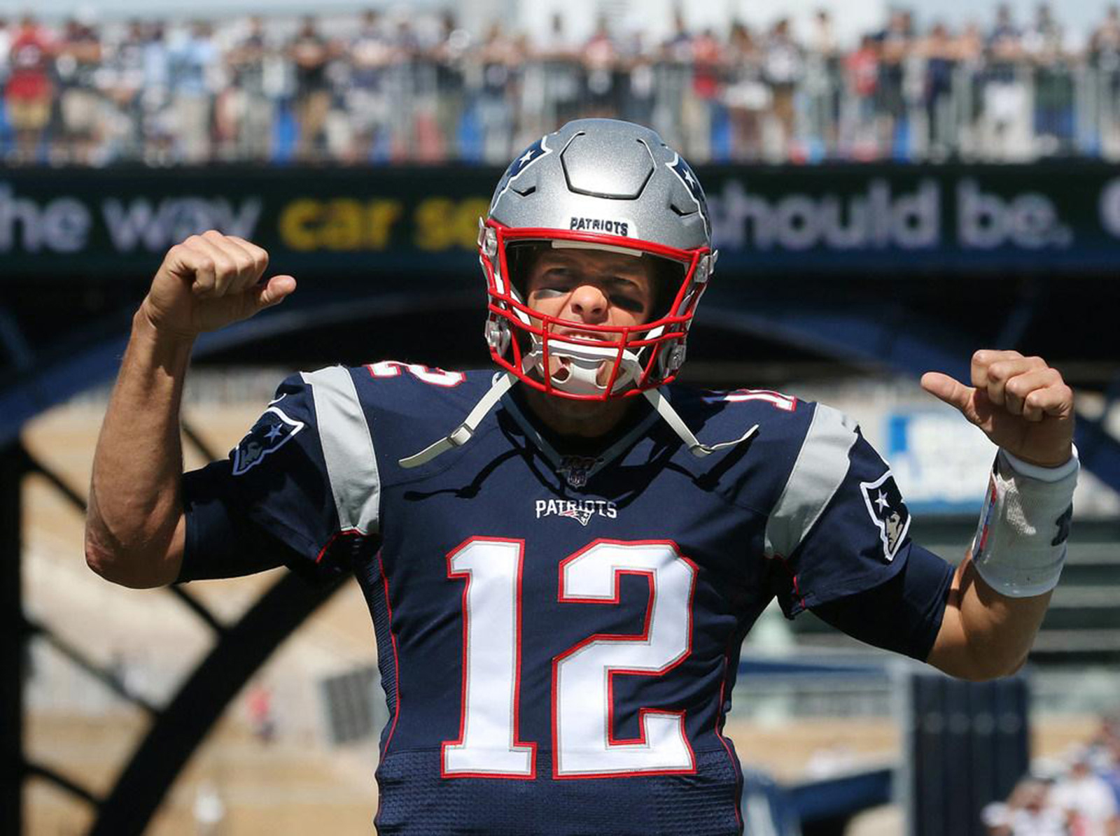 Sep 22, 2019; Foxboro, Massachusetts, USA; New England Patriots quarterback Tom Brady pumps up the crowd about an hour before a game against the New York Jets as he starts his warmups at Gillette Stadium. Mandatory Credit: Bob Breidenbach/Providence Journal-USA TODAY NETWORK
