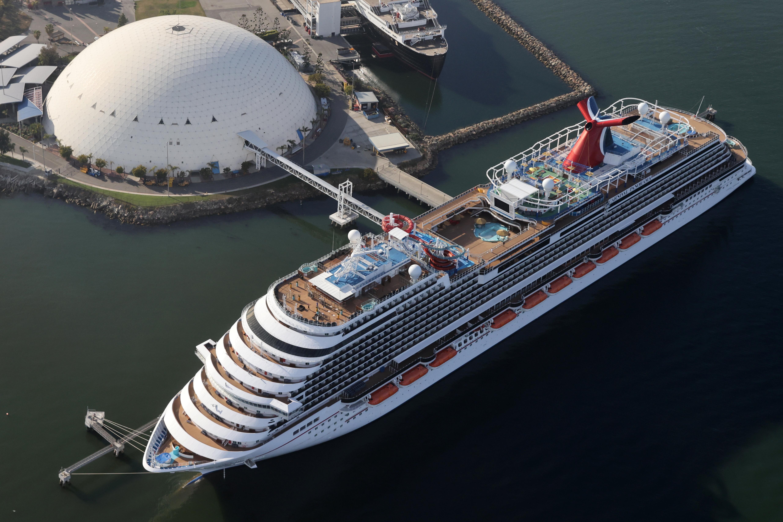 A Carnival cruise ship is docked, amid the coronavirus disease (COVID-19) pandemic, in Long Beach, California, U.S., April 7, 2021. REUTERS/Lucy Nicholson