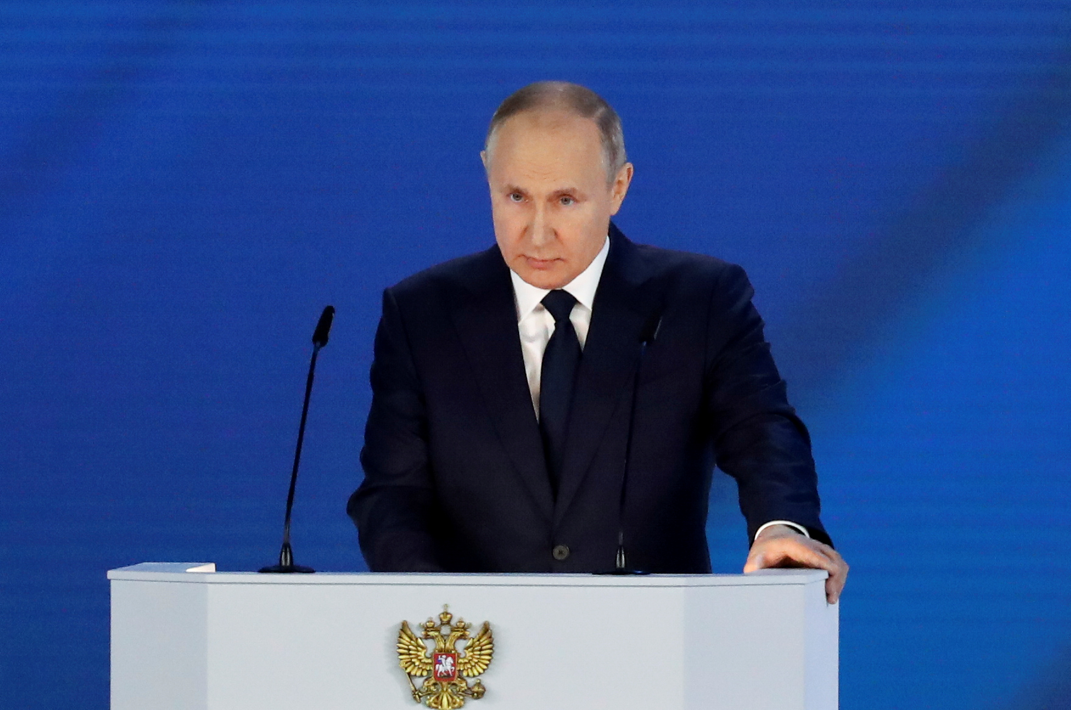 Russian President Vladimir Putin delivers his annual address to the Federal Assembly in Moscow, Russia April 21, 2021. REUTERS/Evgenia Novozhenina