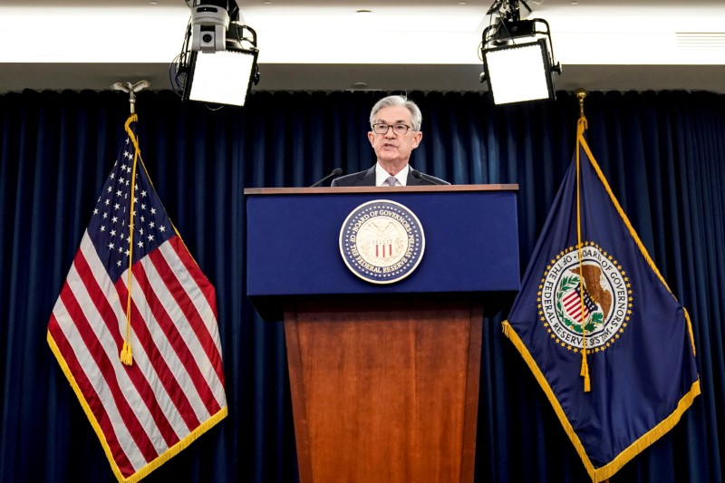 Federal Reserve Chair Jerome Powell holds a news conference following the Federal Open Market Committee meeting in Washington, U.S., December 11, 2019. REUTERS/Joshua Roberts/File Photo