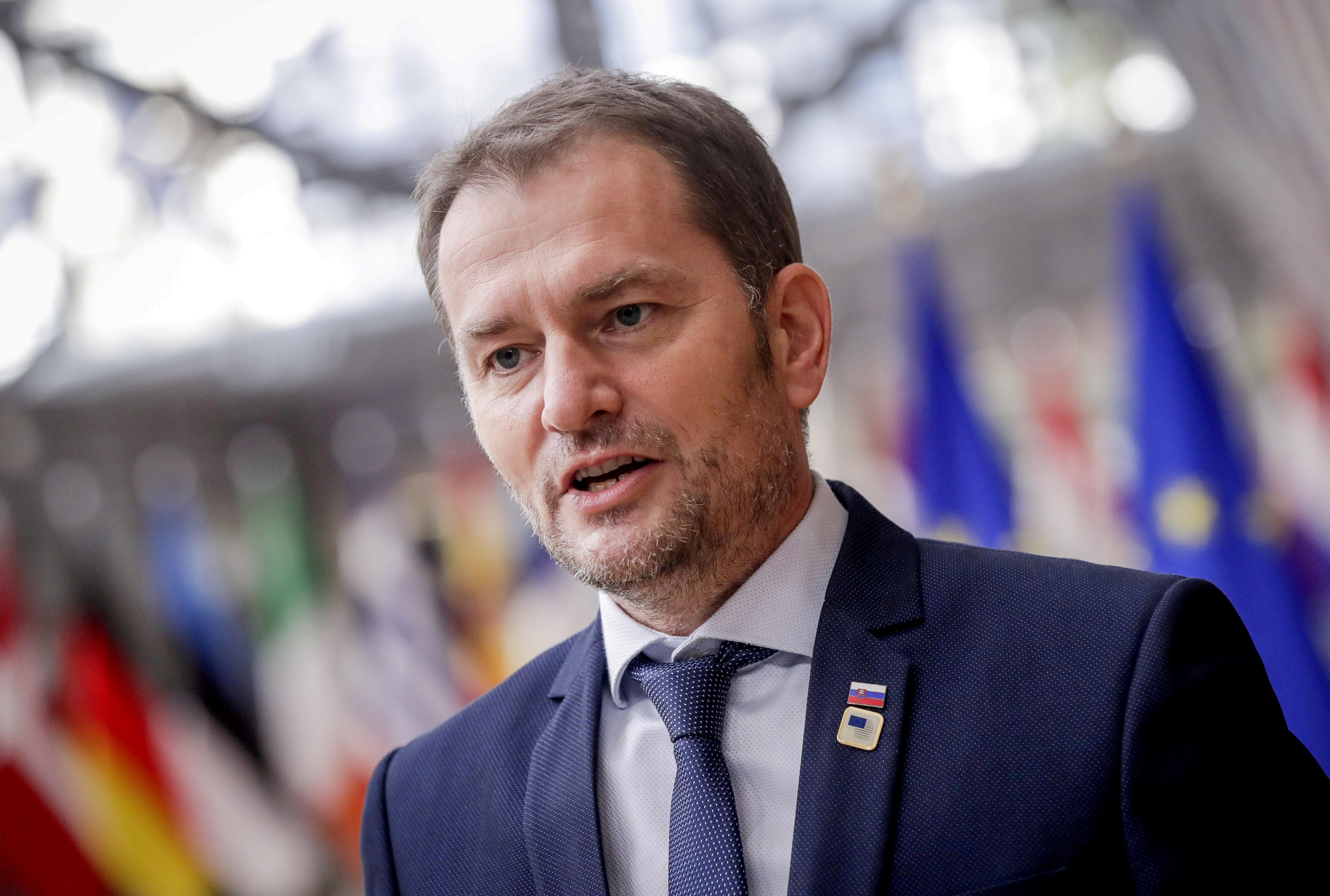Slovak Prime Minister Igor Matovic arrives for an EU summit in Brussels, Belgium, October 15, 2020.  Olivier Hoslet/Pool via REUTERS