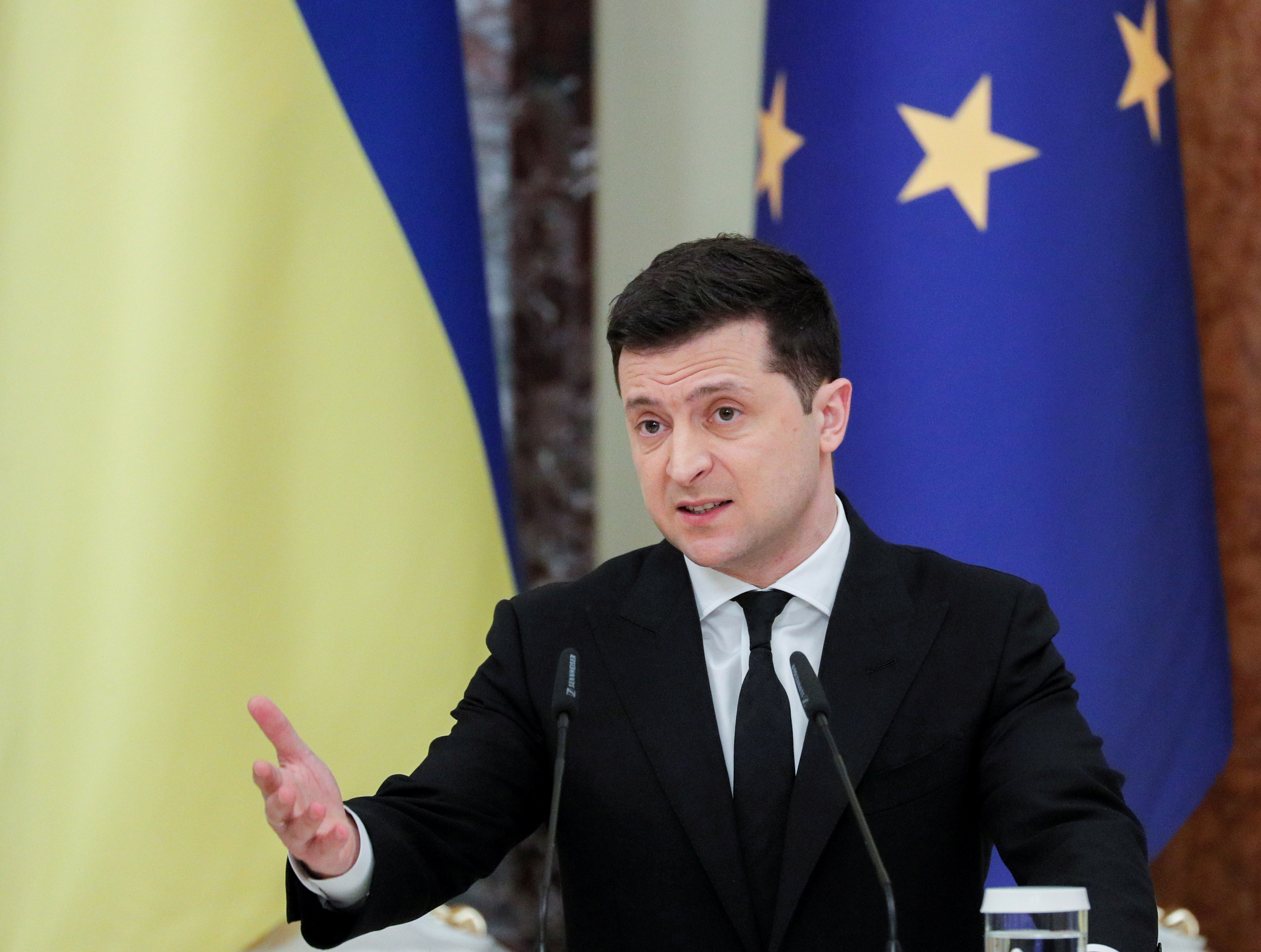 Ukrainian President Volodymyr Zelenskiy speaks during a joint news conference with European Council President Charles Michel in Kyiv, Ukraine March 3, 2021. Sergey Dolzhenko/Pool