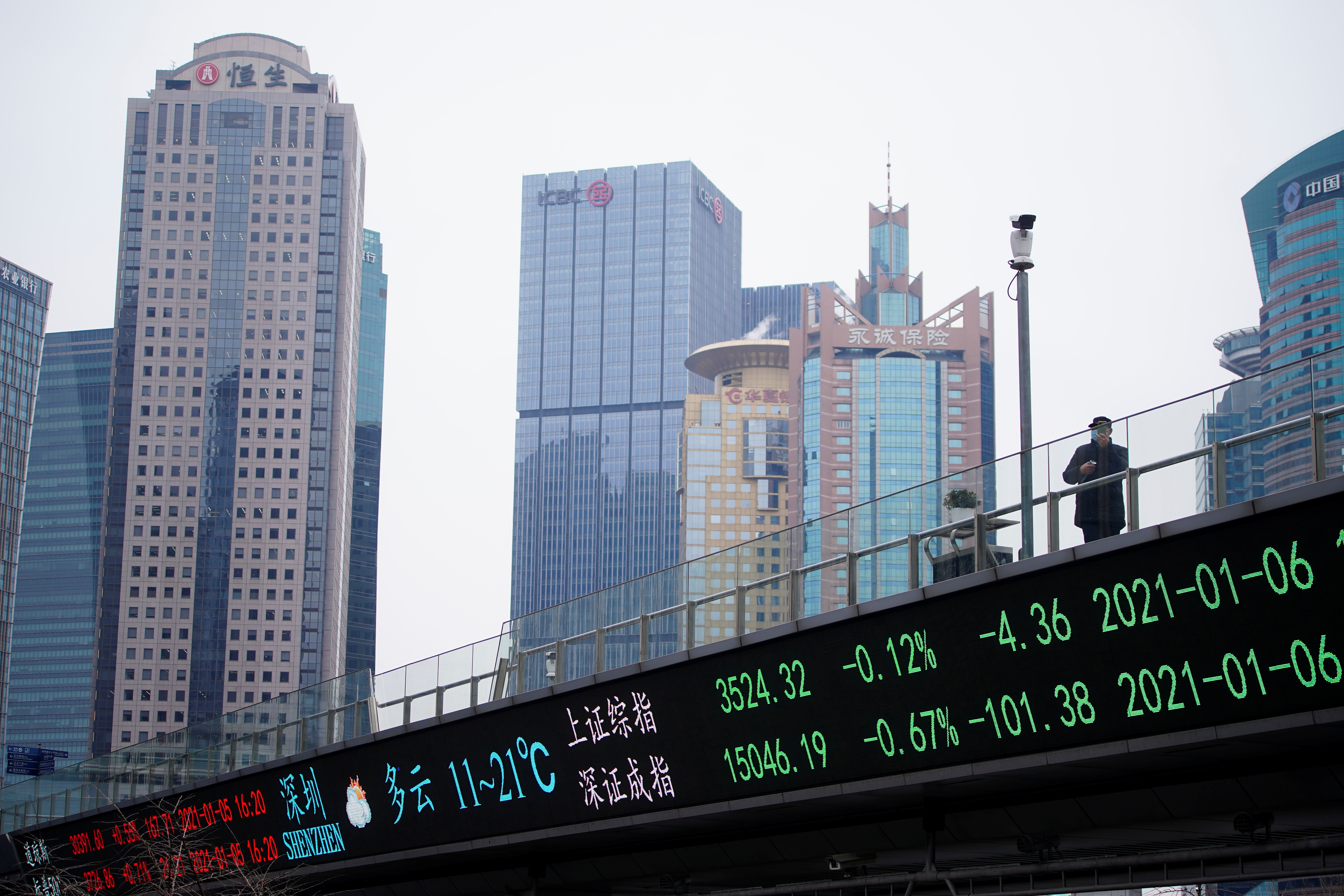 A man wearing a face mask, following the coronavirus disease (COVID-19) outbreak, stands on an overpass with an electronic board showing Shanghai and Shenzhen stock indexes, at the Lujiazui financial district in Shanghai, China January 6, 2021. REUTERS/Aly Song