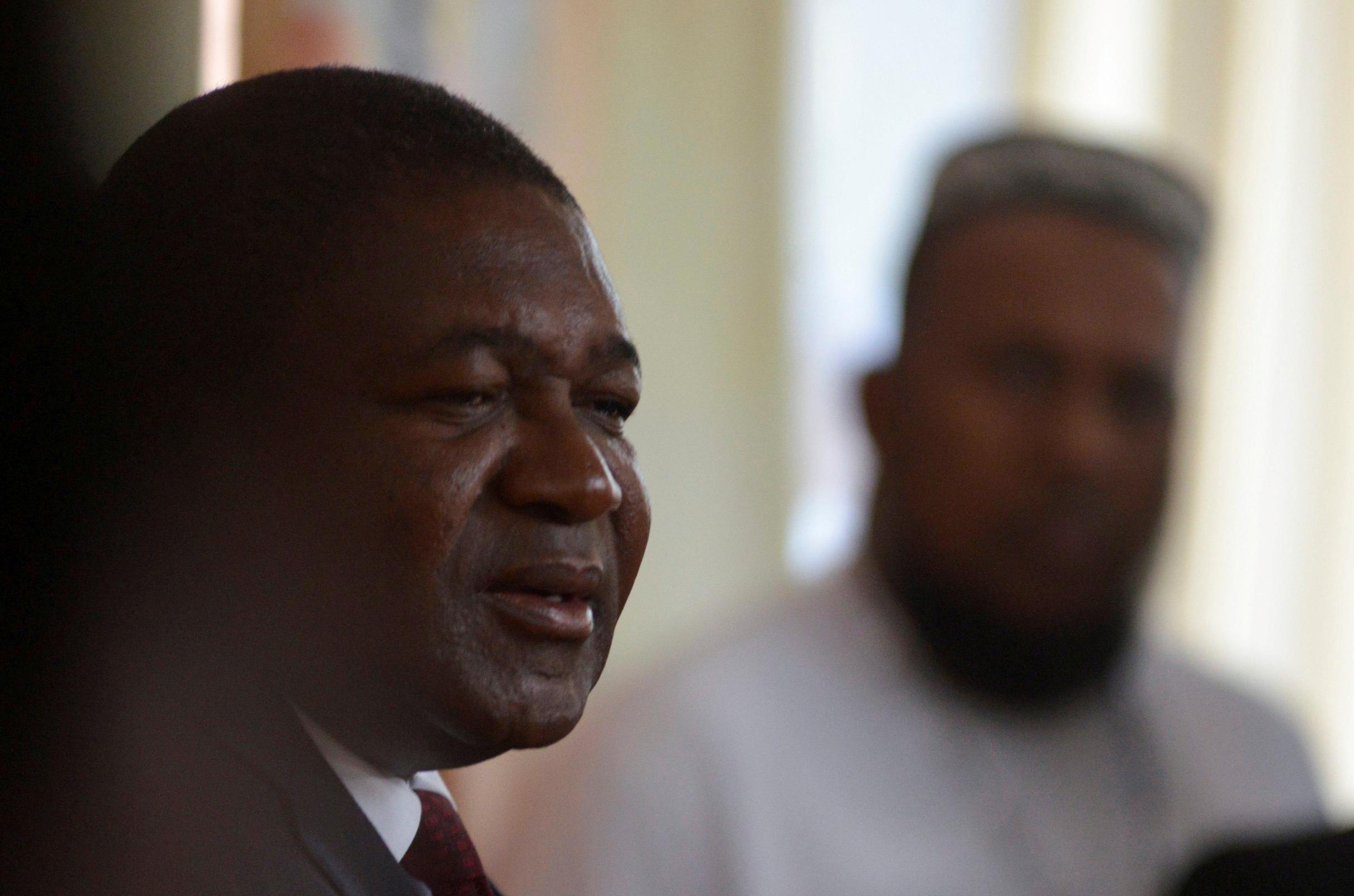 Mozambique's President Filipe Nyusi speaks with the press in Mozambique, October, 15, 2019. REUTERS/Grant Lee Neuenburg