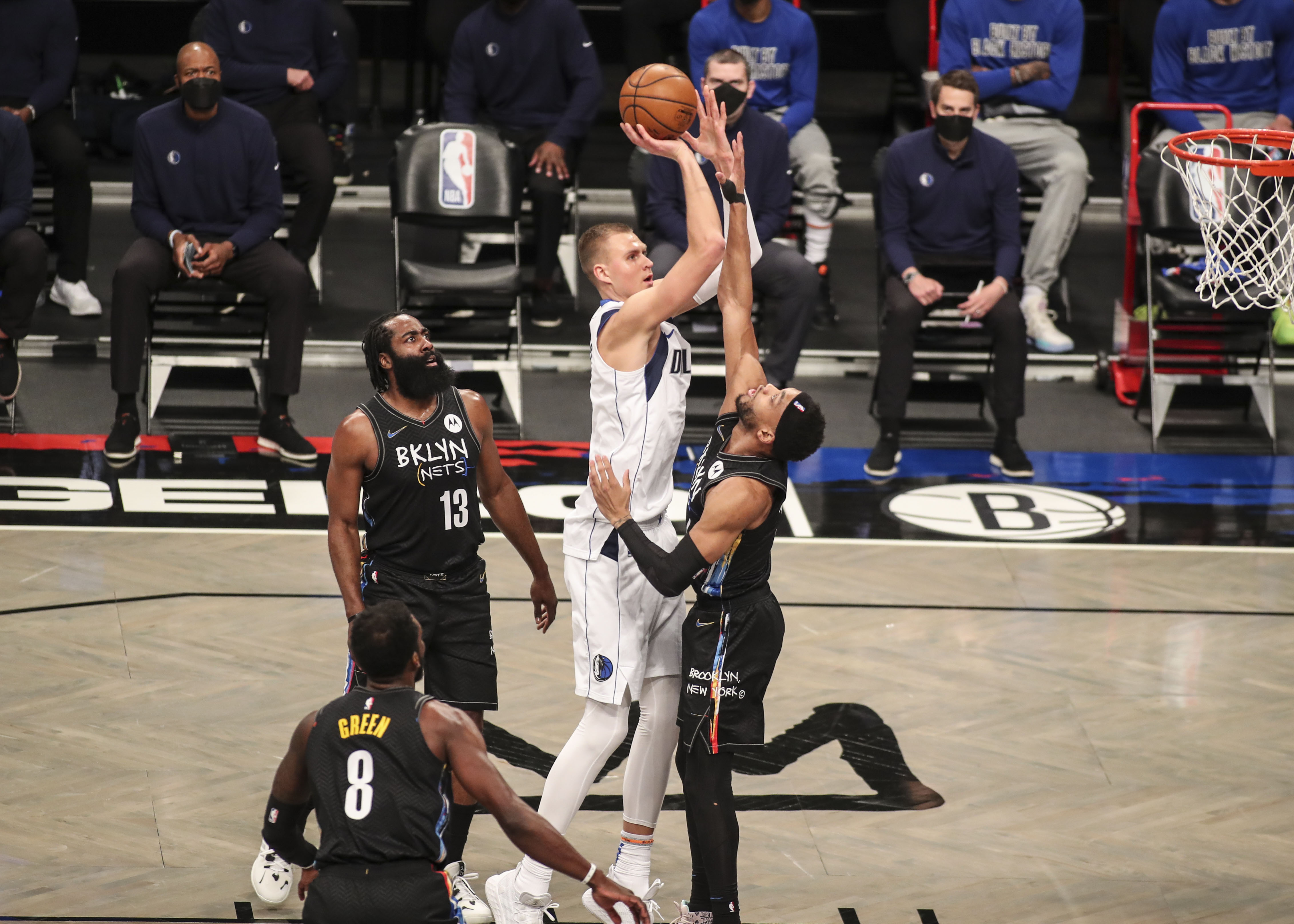 Feb 27, 2021; Brooklyn, New York, USA;  Dallas Mavericks center Kristaps Porzingis (6) takes a jump shot in the first quarter against the Brooklyn Nets at Barclays Center.   Wendell Cruz-USA TODAY Sports
