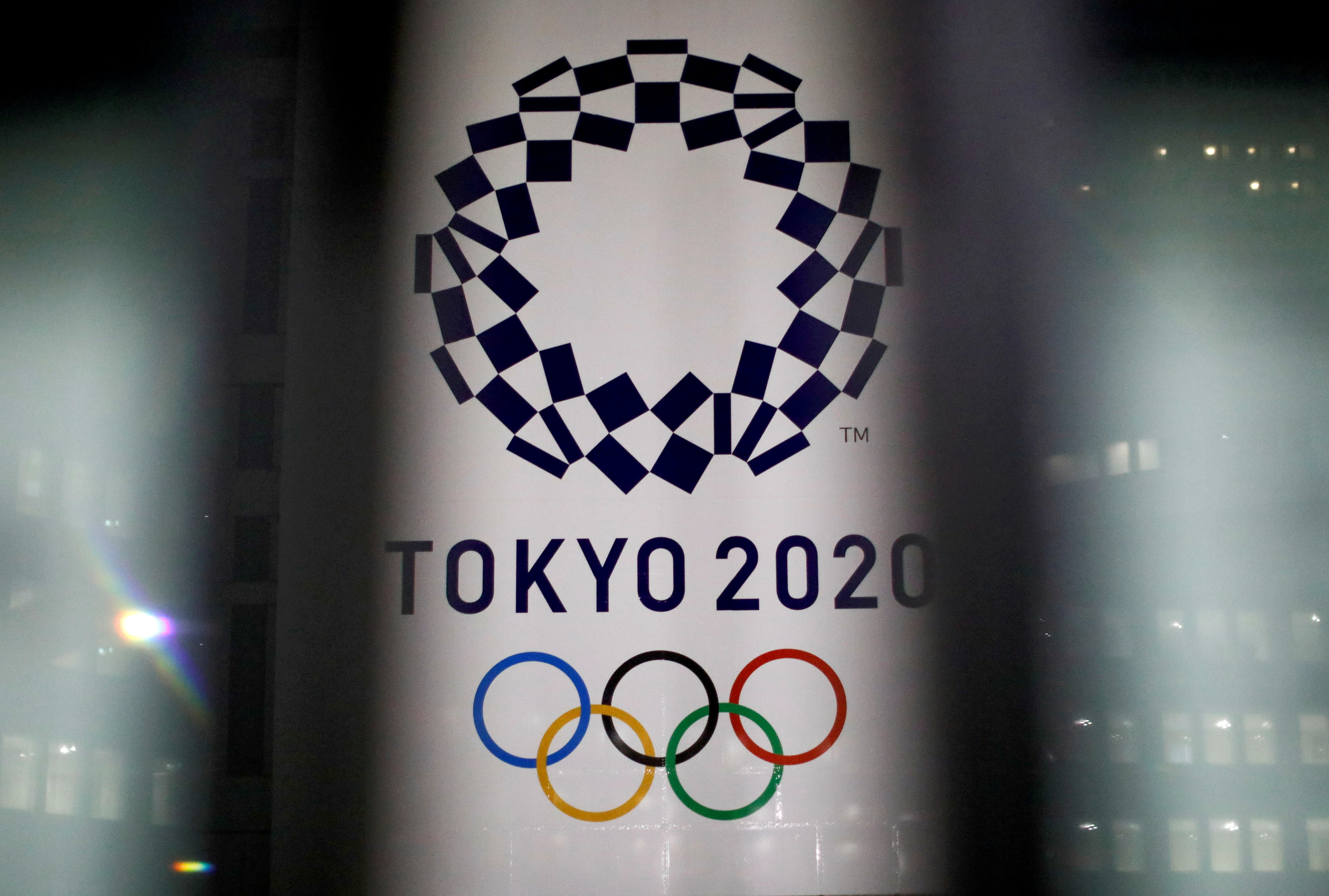 The logo of the Tokyo Olympic Games, at the Tokyo Metropolitan Government Office building in Tokyo, Japan, January 22, 2021. REUTERS/Issei Kato/File Photo