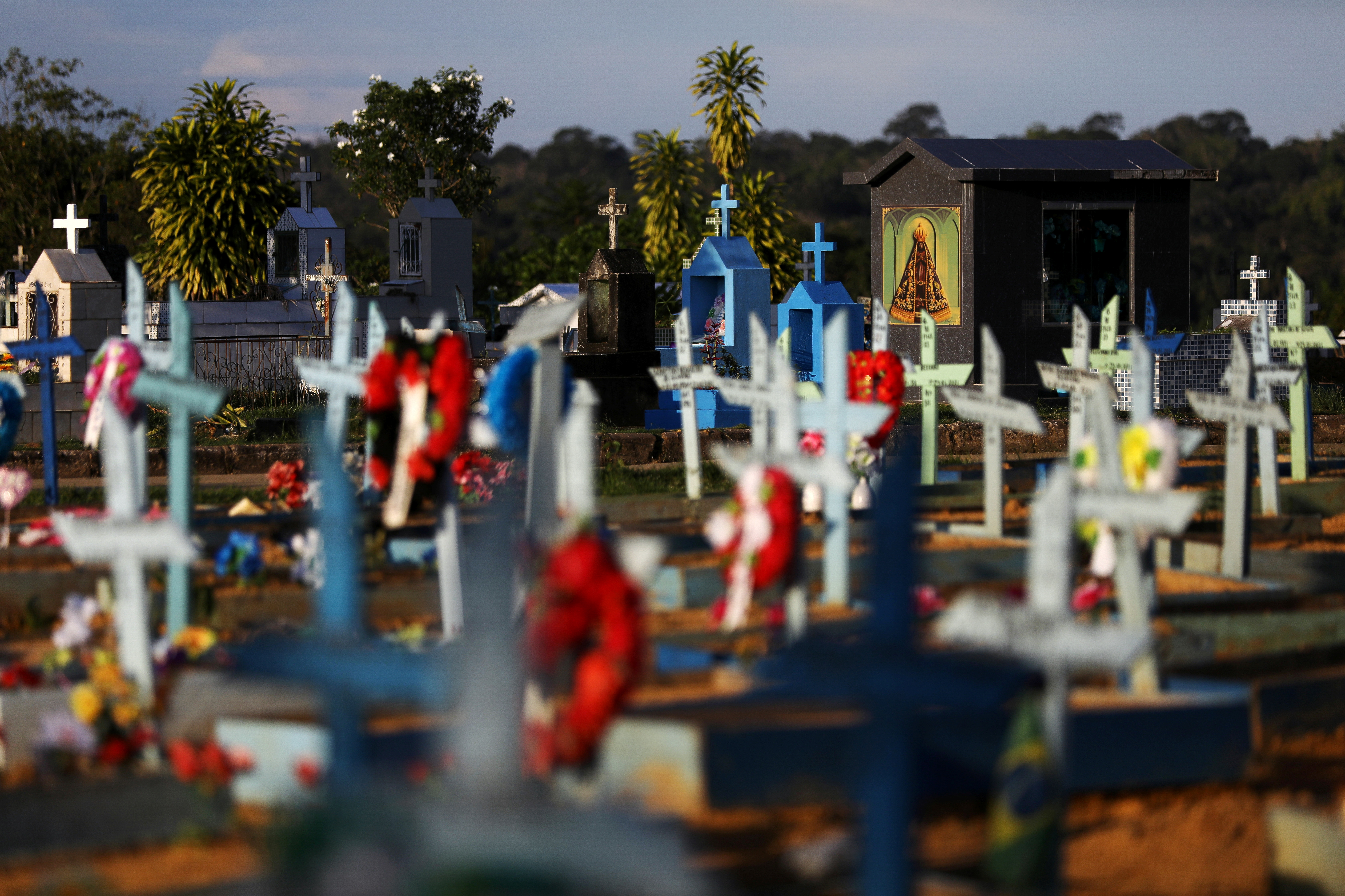 Graves of people who passed away due to the coronavirus disease (COVID-19) are pictured at the Parque Taruma cemetery in Manaus, Brazil May 20, 2021. Picture taken May 20, 2021. REUTERS/Bruno Kelly