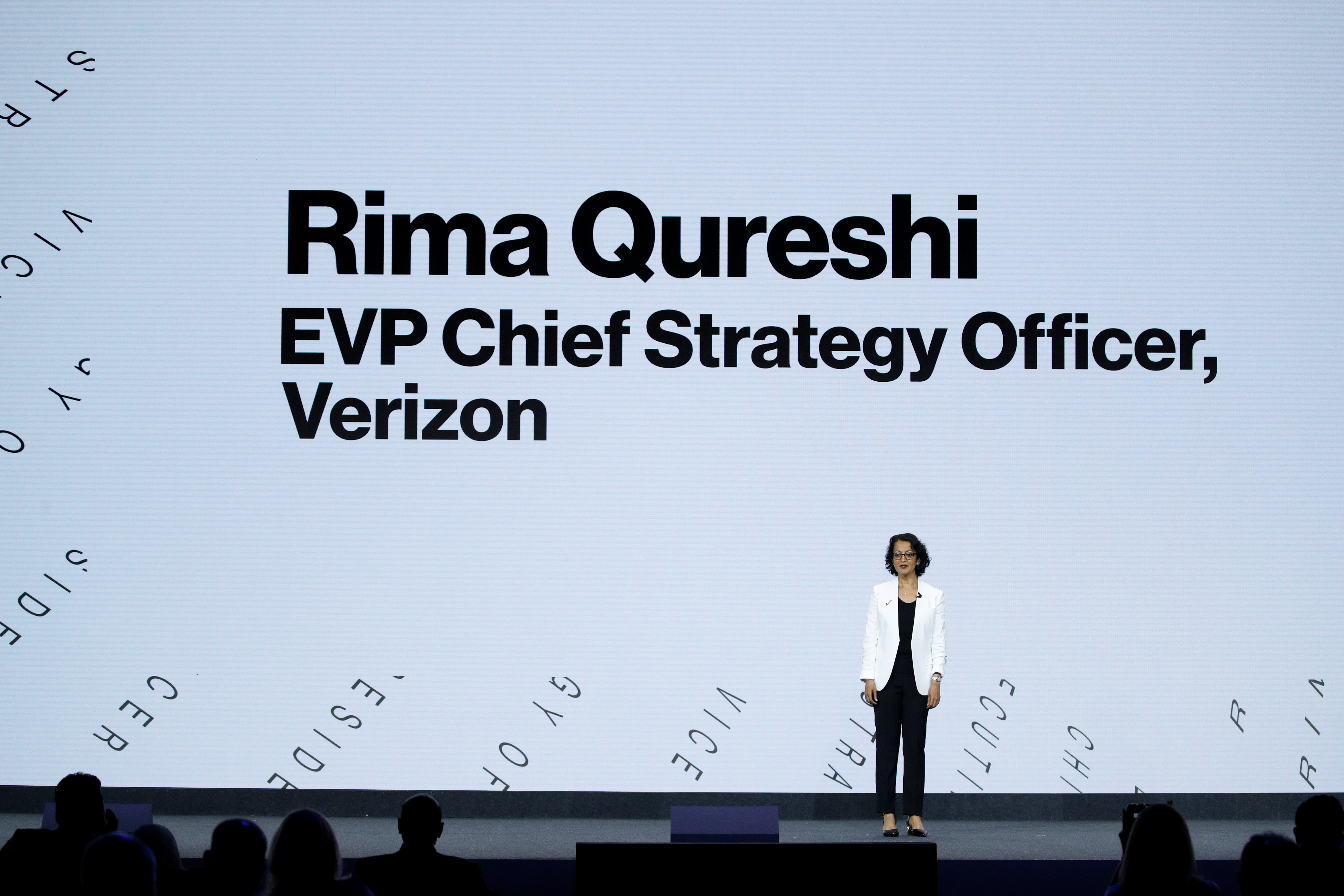 Rima Qureshi, EVP Chief Strategy Officer of Verizon, gives a speech during the Mobile World Congress (MWC) in Barcelona, Spain, June 28, 2021. REUTERS/Albert Gea