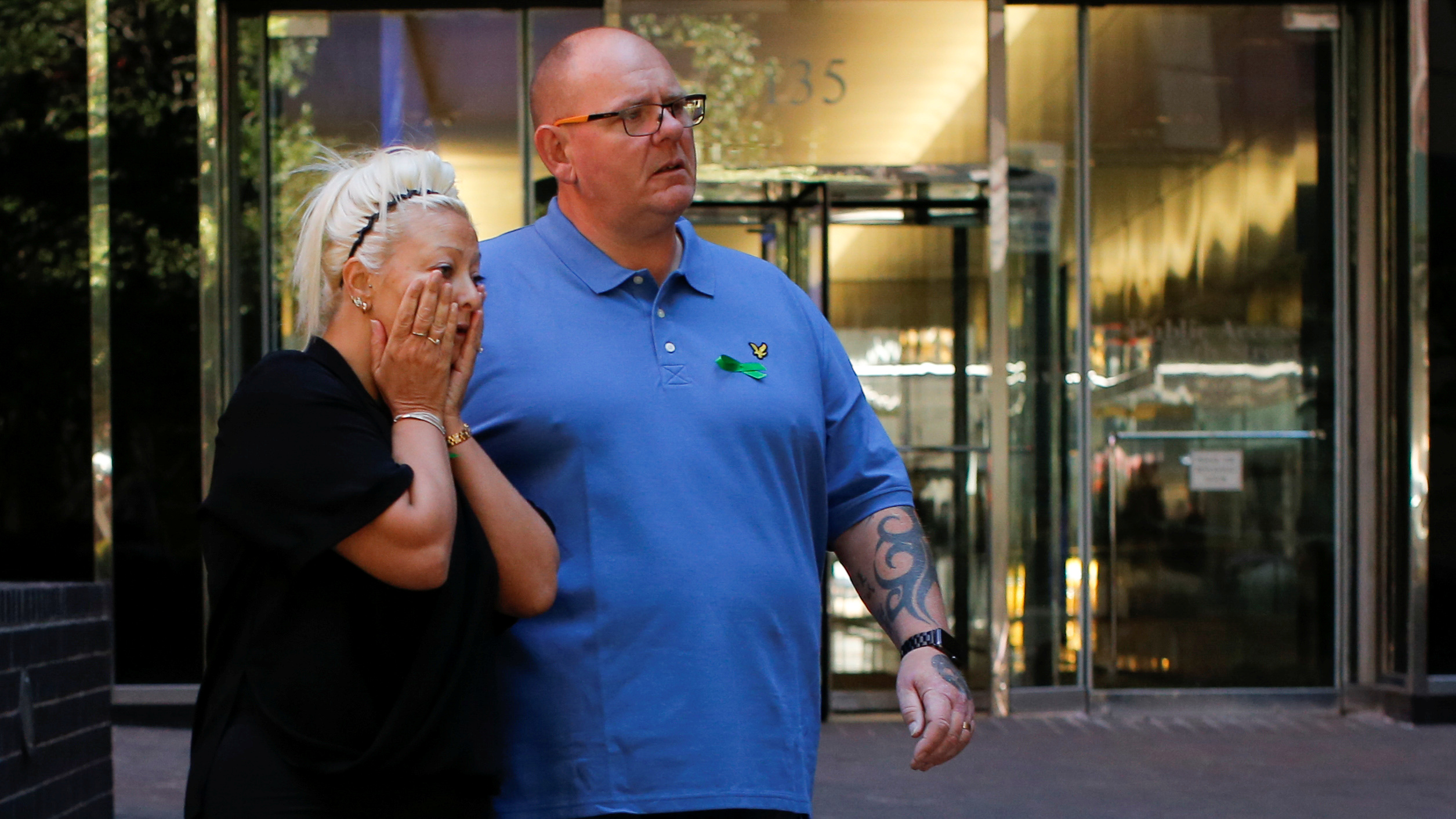 File photo: Charlotte Charles and Tim Dunn, parents of British teen Harry Dunn who was killed in a car crash on his motorcycle, allegedly by the wife of an American diplomat, walk out after an interview in the Manhattan borough of New York City. REUTERS/Eduardo Munoz