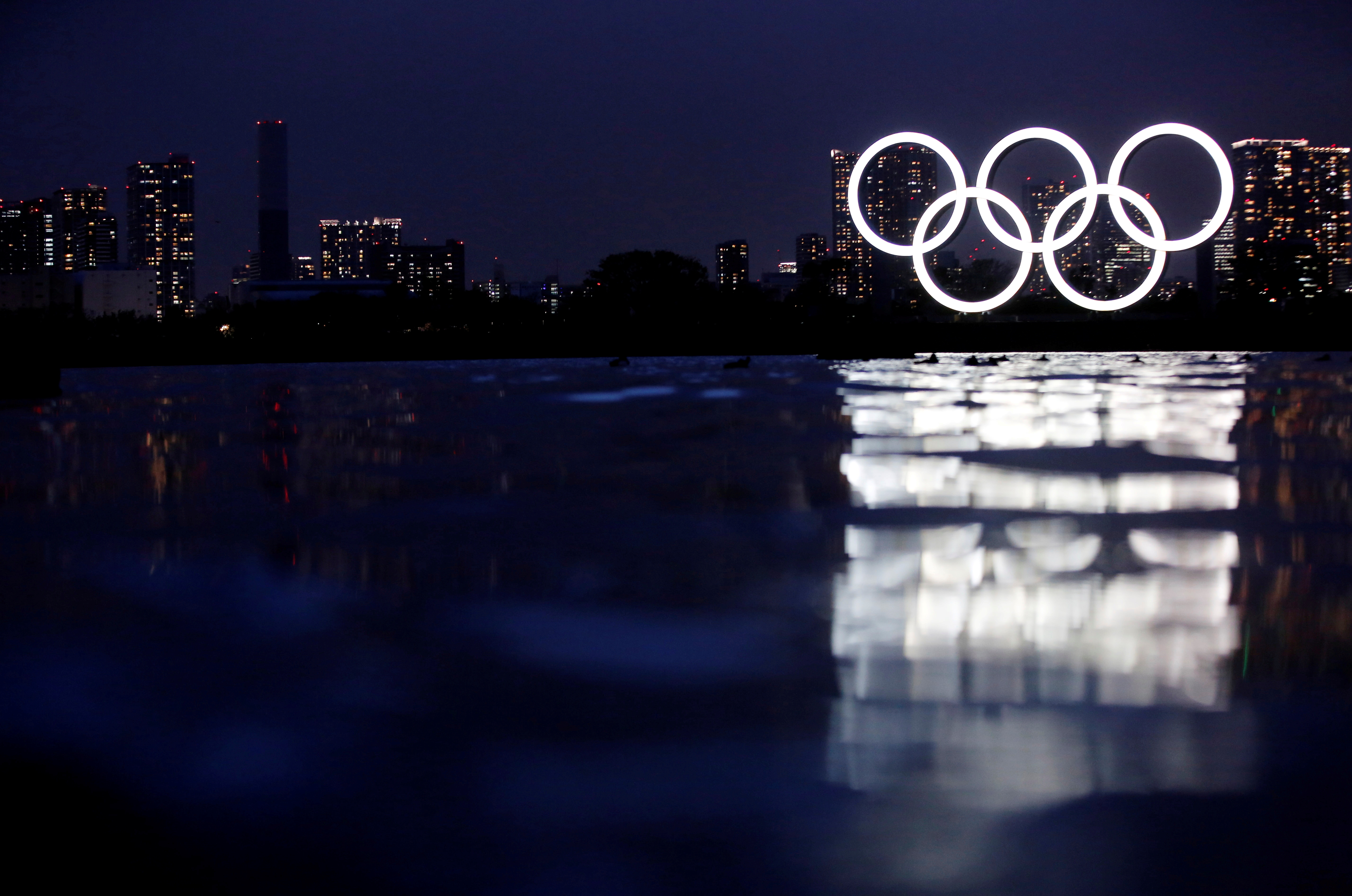 An Olympic rings monument is pictured in the waterfront area at Odaiba Marine Park in Tokyo, Japan, April 2, 2021. Picture taken April 2, 2021.  REUTERS/Kim Kyung-Hoon/File Photo