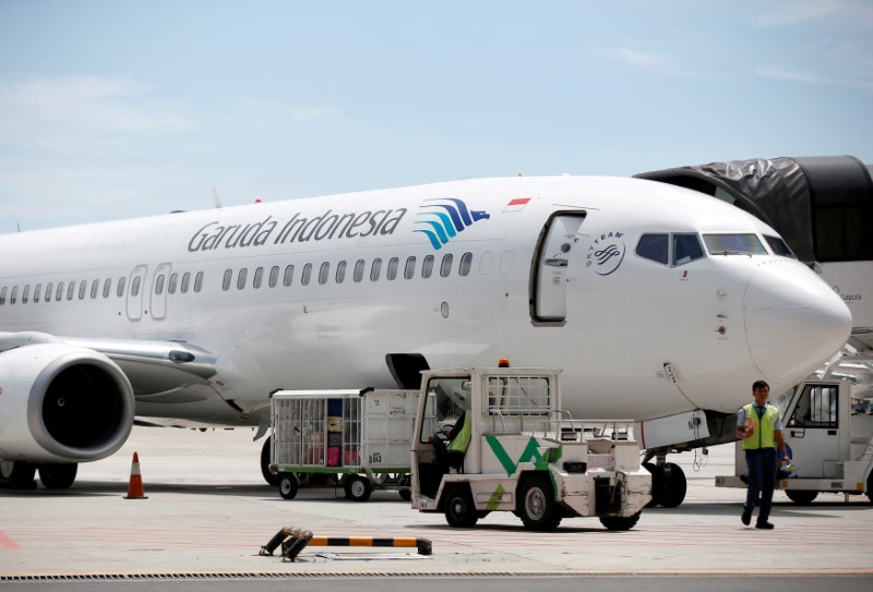 A plane belonging to Garuda Indonesia is seen on the tarmac of Terminal 3, SoekarnoÐHatta International Airport near Jakarta, Indonesia April 28, 2017.   REUTERS/Darren Whiteside/File Photo/File Photo