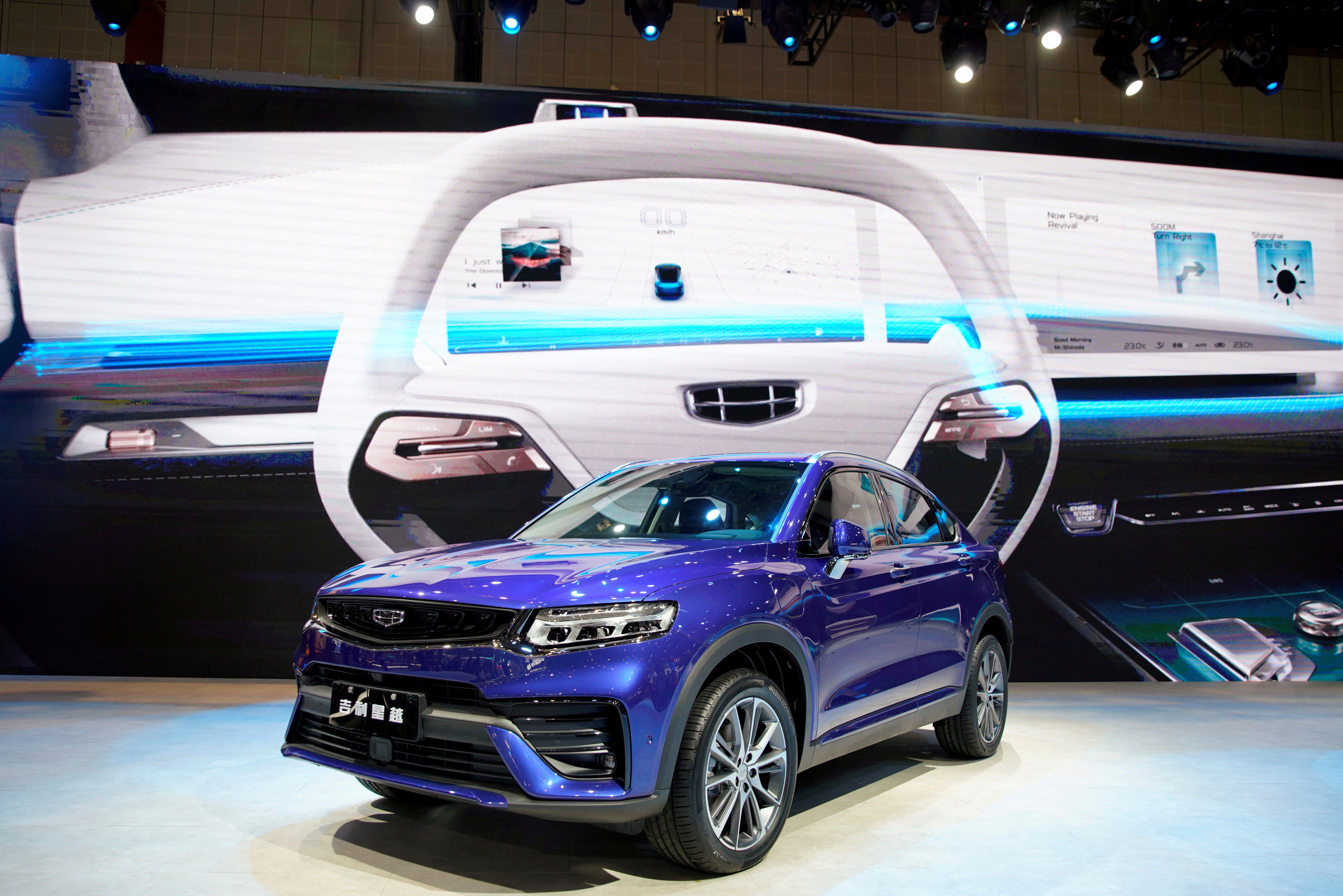 A Geely Xingyue Coupe SUV is seen displayed at the second media day for the Shanghai auto show in Shanghai, China April 17, 2019.  REUTERS/Aly Song