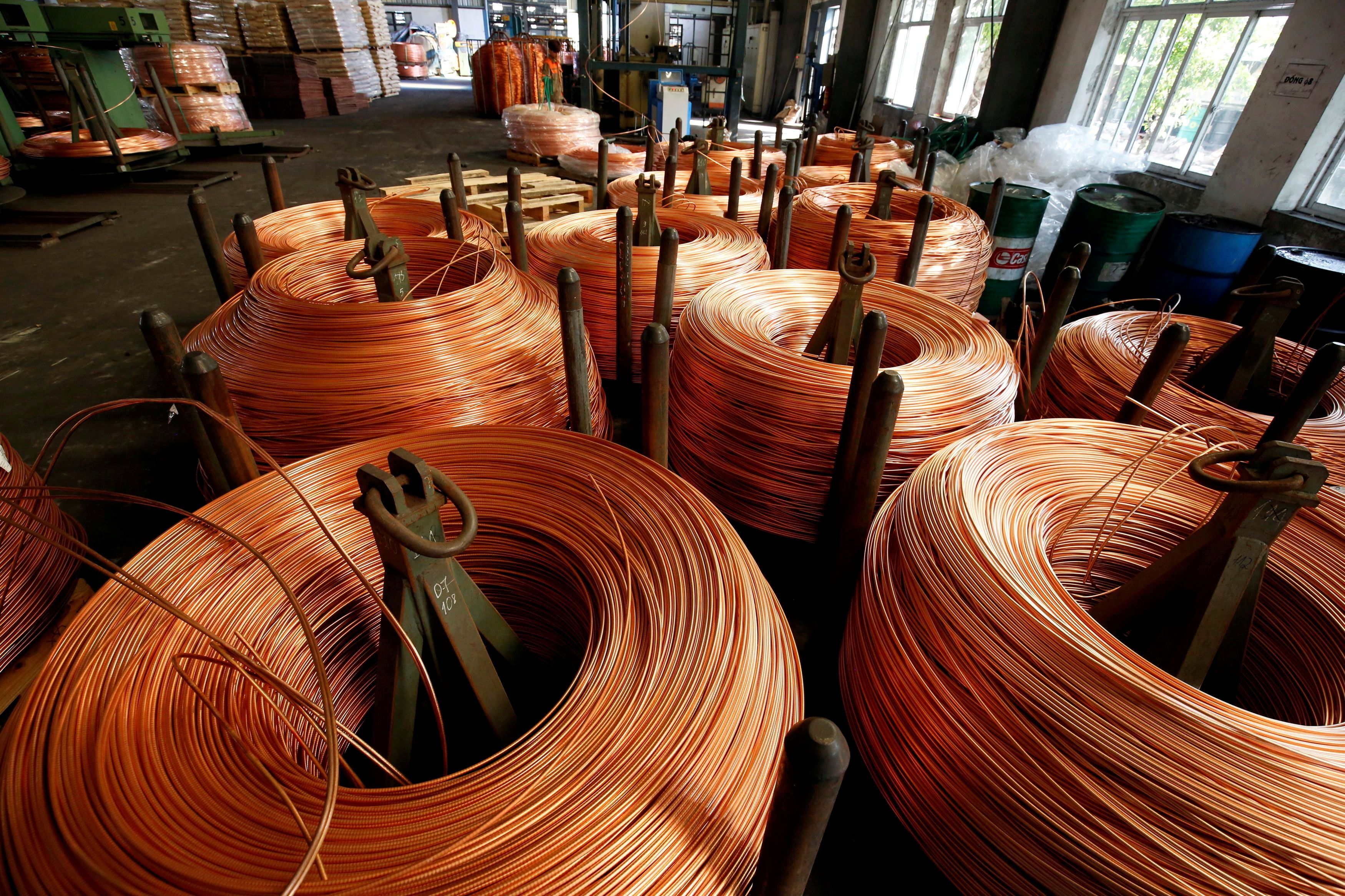 Copper rods are seen at Truong Phu cable factory in northern Hai Duong province, outside Hanoi, Vietnam, August 11, 2017. REUTERS/Kham/File Photo