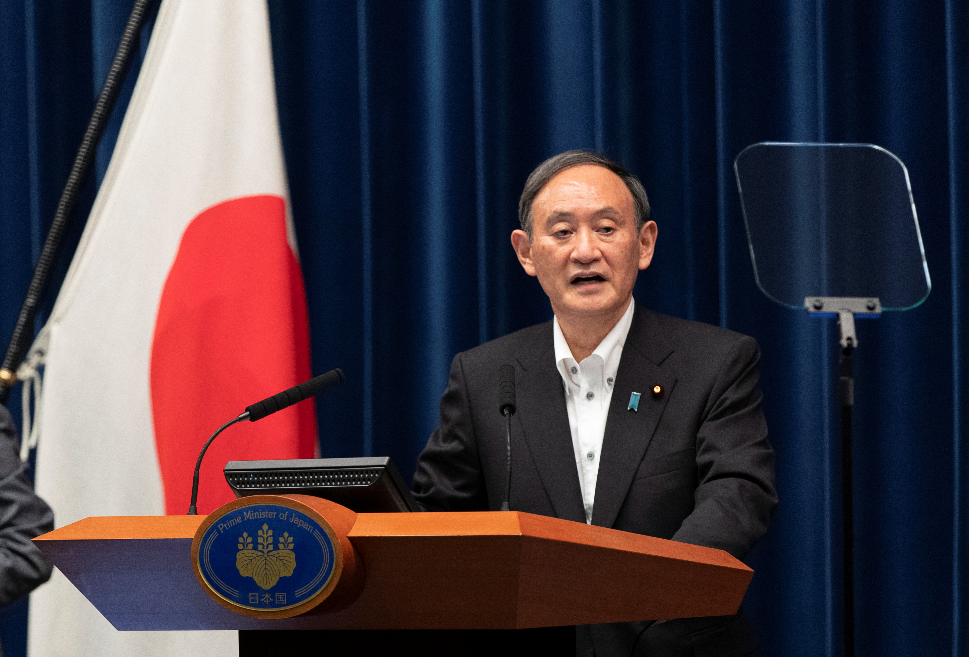Japanese Prime Minister Yoshihide Suga speaks during a news conference in Tokyo, Japan, May 7, 2021. Hiro Komae/Pool via REUTERS