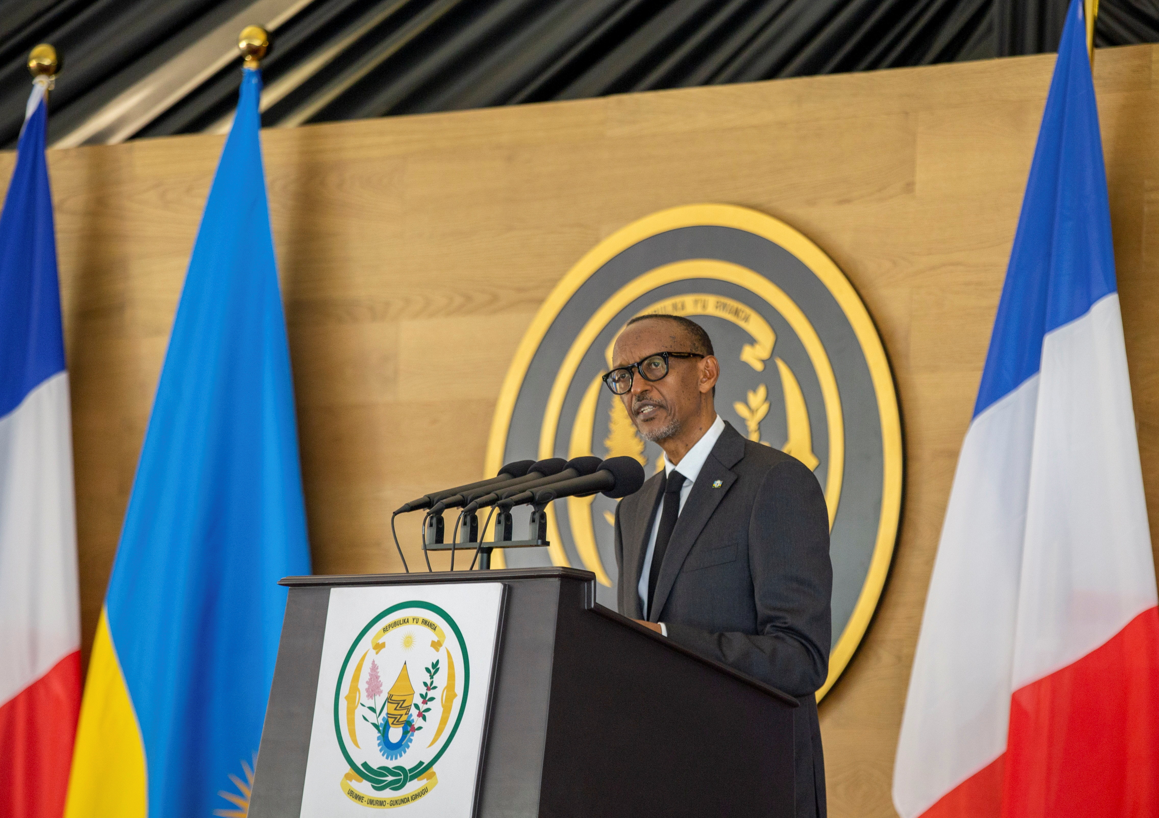 Rwandan President Paul Kagame address a joint news conference with French President Emmanuel Macron at the Presidential Palace in Kigali, Rwanda May 27, 2021. REUTERS/Jean Bizimana
