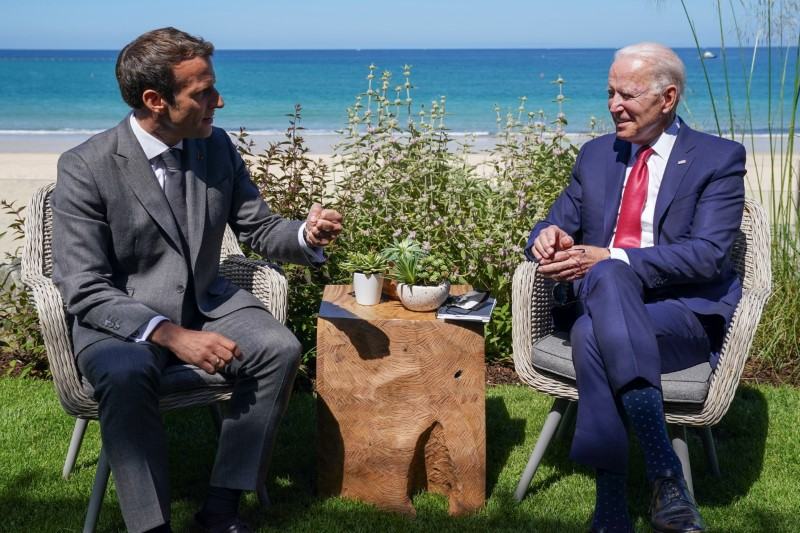 U.S. President Joe Biden and France's President Emmanuel Macron attend a bilateral meeting during the G7 summit in Carbis Bay, Cornwall, Britain, June 12, 2021. REUTERS/Kevin Lamarque