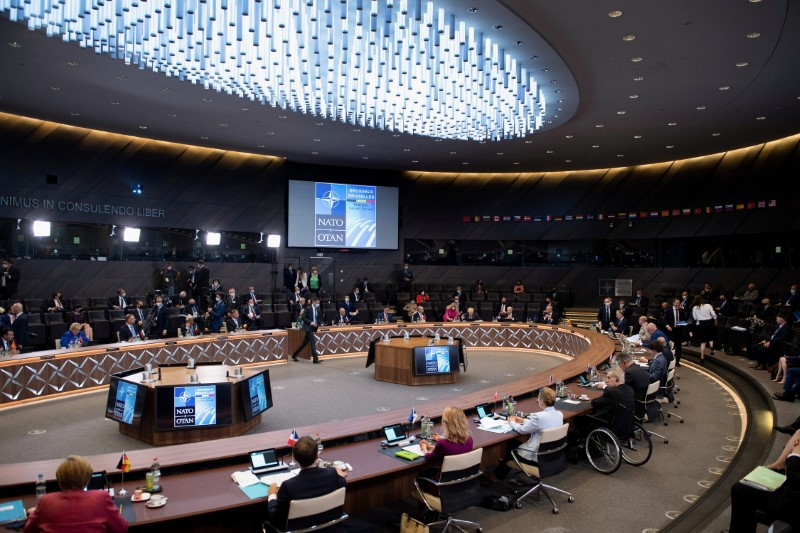 NATO heads of states and governments attend a plenary session at a NATO summit in Brussels, Belgium, June 14, 2021. Brendan Smialowski/Pool via REUTERS