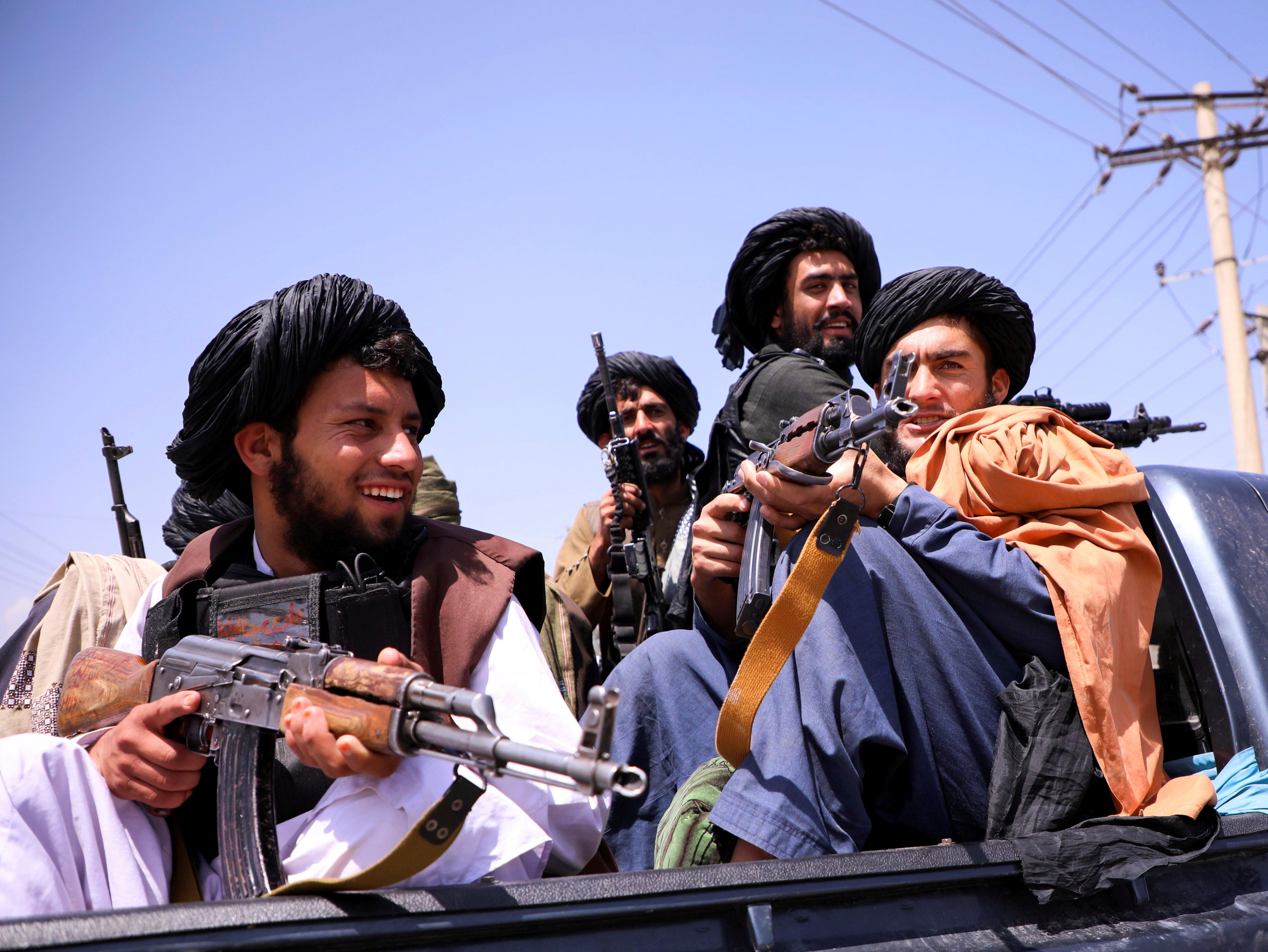 Taliban forces patrol in front of Hamid Karzai International Airport in Kabul, Afghanistan, September 2, 2021. REUTERS/Stringer/File Photo