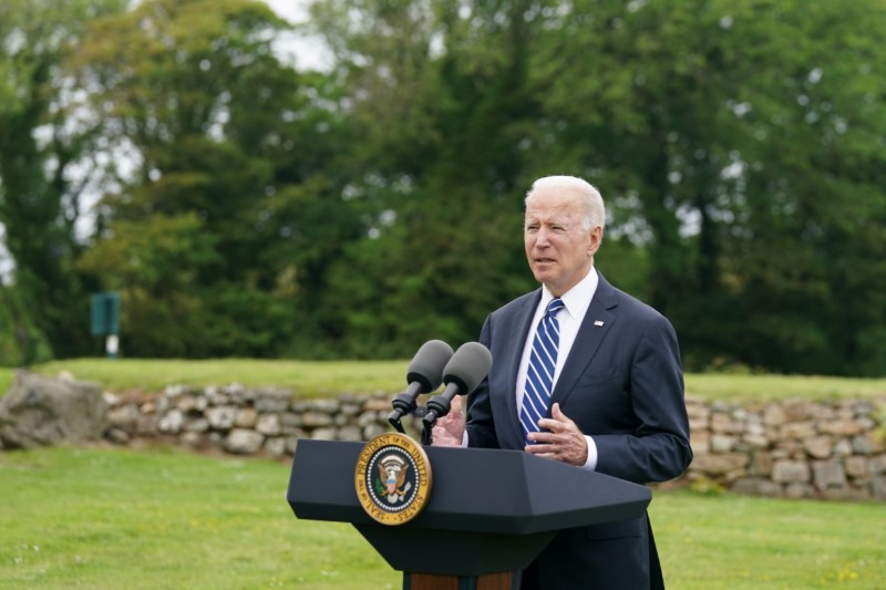 U.S. President Joe Biden speaks about his administration's pledge to donate 500 million doses of the Pfizer (PFE.N) coronavirus vaccine to the world's poorest countries, during a visit to St. Ives in Cornwall, Britain, June 10, 2021. REUTERS/ Kevin Lamarque/Files