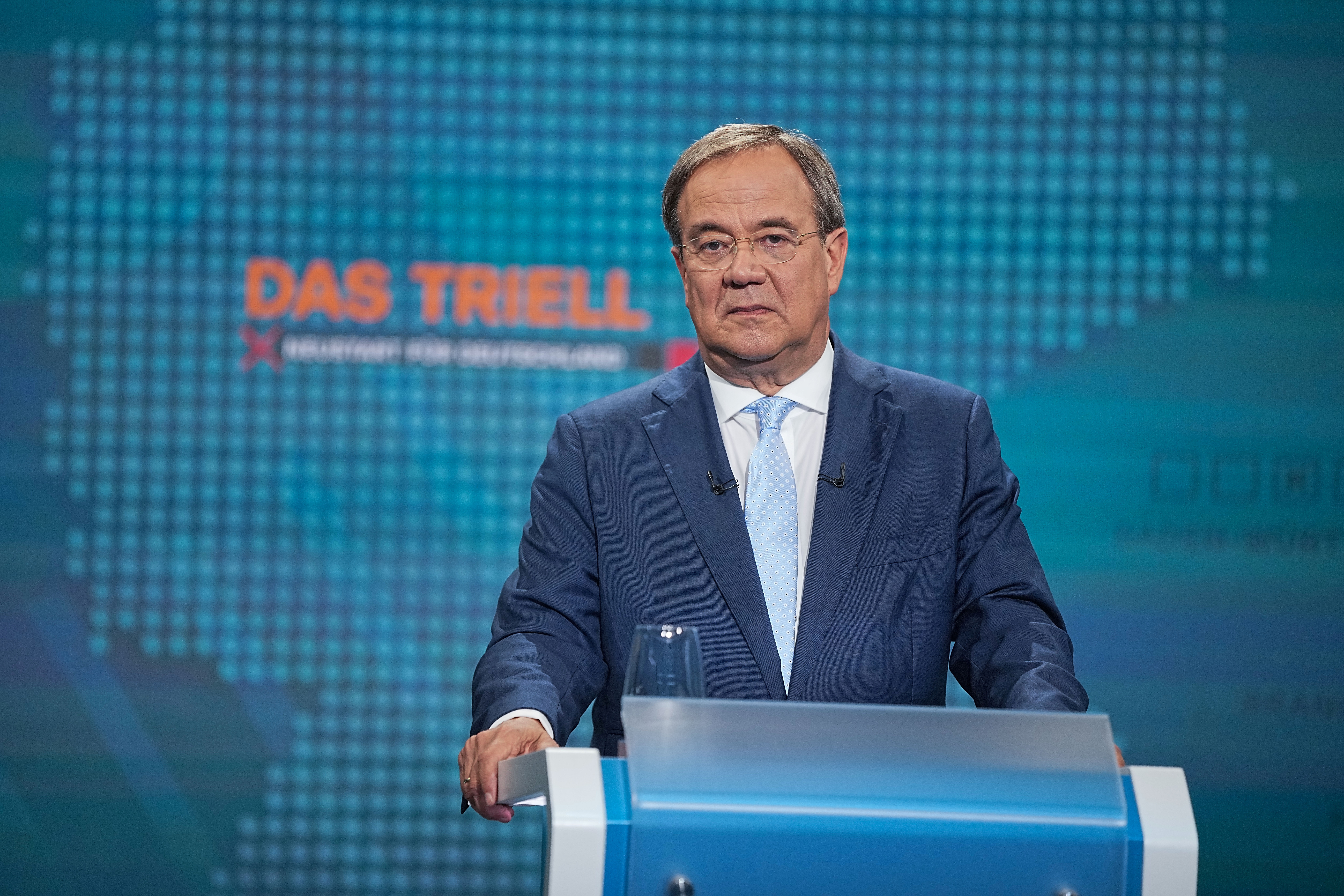 Prime Minister of North Rhine-Westphalia (NRW), leader of the Christian Democratic Union (CDU) and cadidate for chancellor Armin Laschet attends a televised debate of the candidates to succeed Angela Merkel as German chancellor in Berlin, Germany, August 29, 2021. Michael Kappeler/Pool via REUTERS