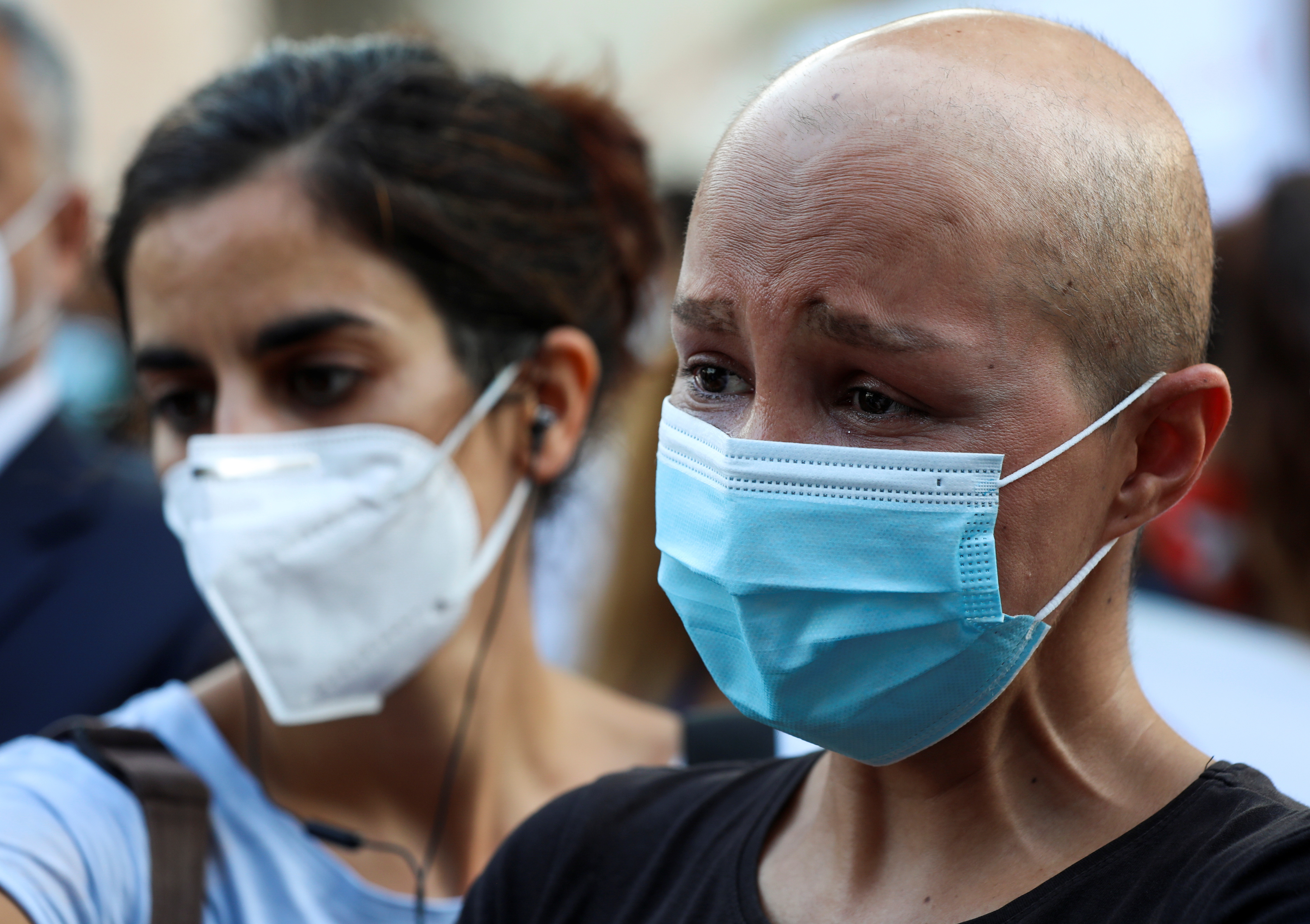 Engineer Bahaa Costantine, a cancer patient, reacts during a sit-in demonstration as shortages of cancer medications spread, in front of the U.N. headquarters in Beirut, Lebanon August 26, 2021. REUTERS/Mohamed Azakir
