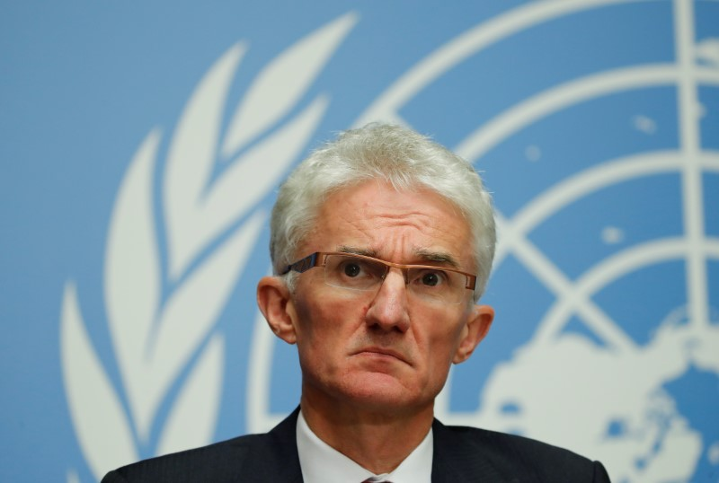 U.N. humanitarian coordinator Mark Lowcock attends a news conference following a joint mission to Afghanistan and Pakistan at the United Nations in Geneva, Switzerland, September 10, 2018.  REUTERS/Denis Balibouse