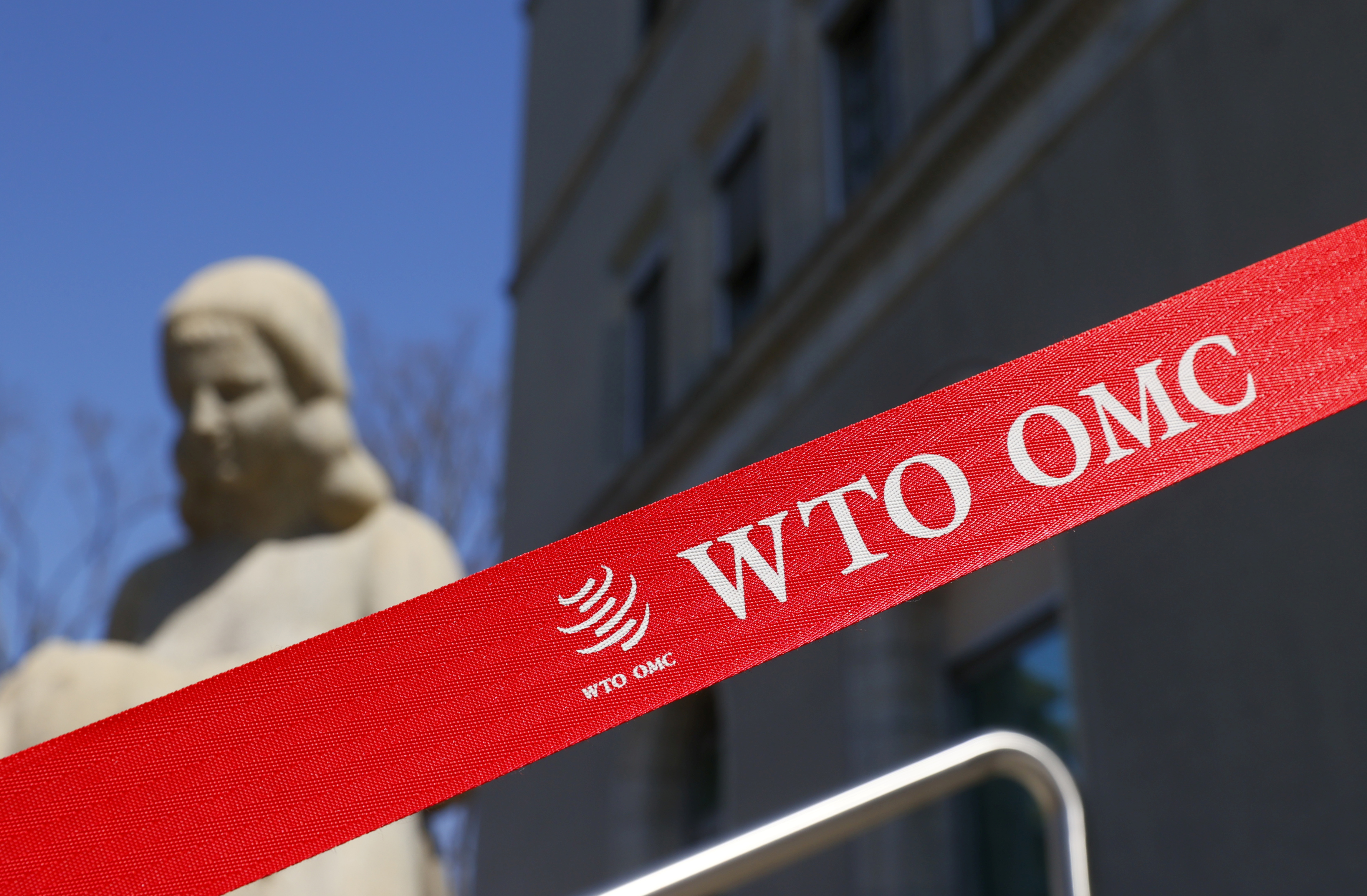 File photo: A logo is pictured outside the World Trade Organization (WTO) building in Geneva, Switzerland, April 1, 2021. REUTERS/Denis Balibouse