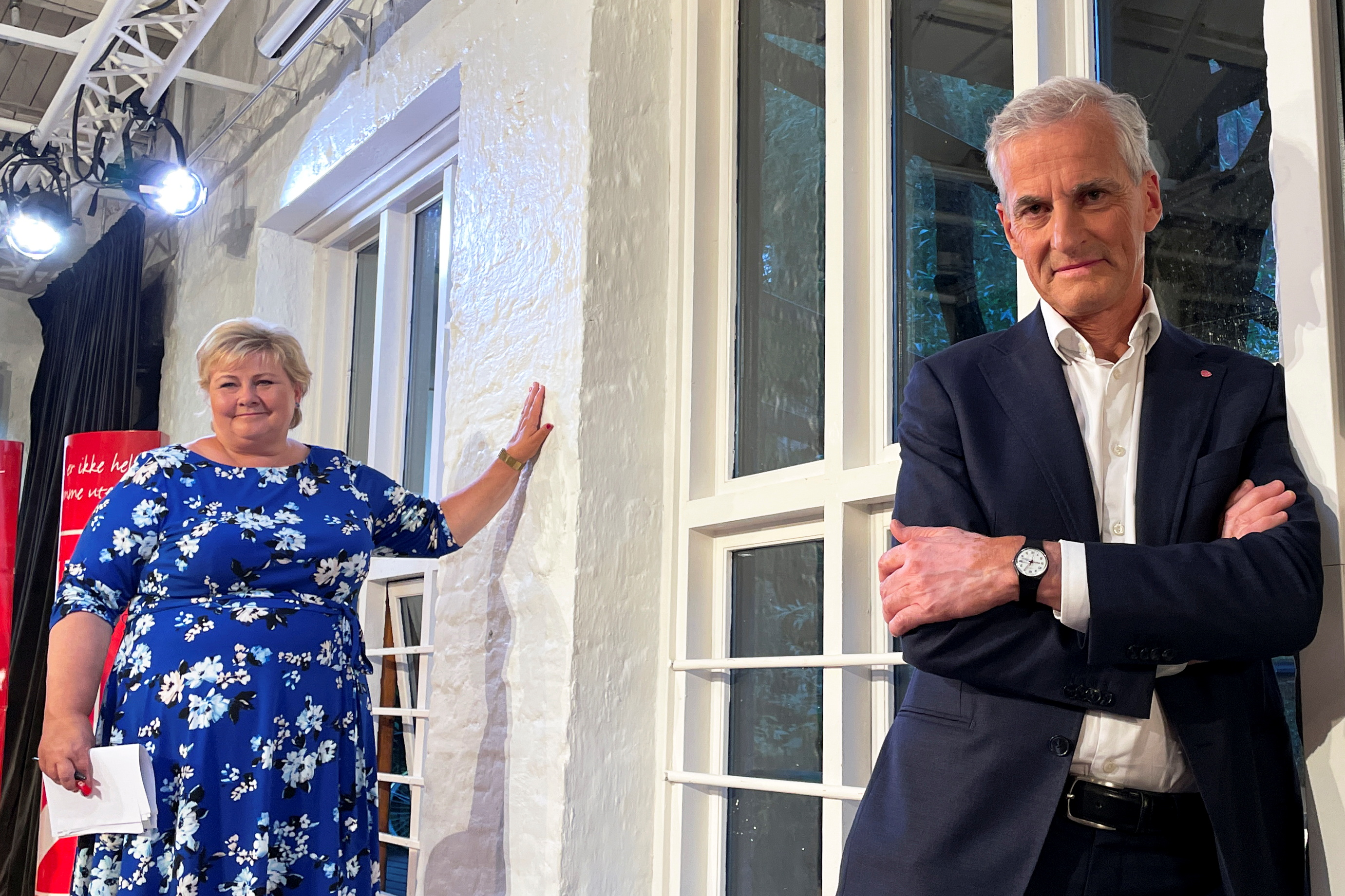 Candidates for Norway's prime minister Jonas Gahr Stoere from Labour Party and Erna Solberg from the Conservatives attend a debate in central Oslo, Norway August 9, 2021. Picture taken August 9, 2021. REUTERS/Gwladys Fouche