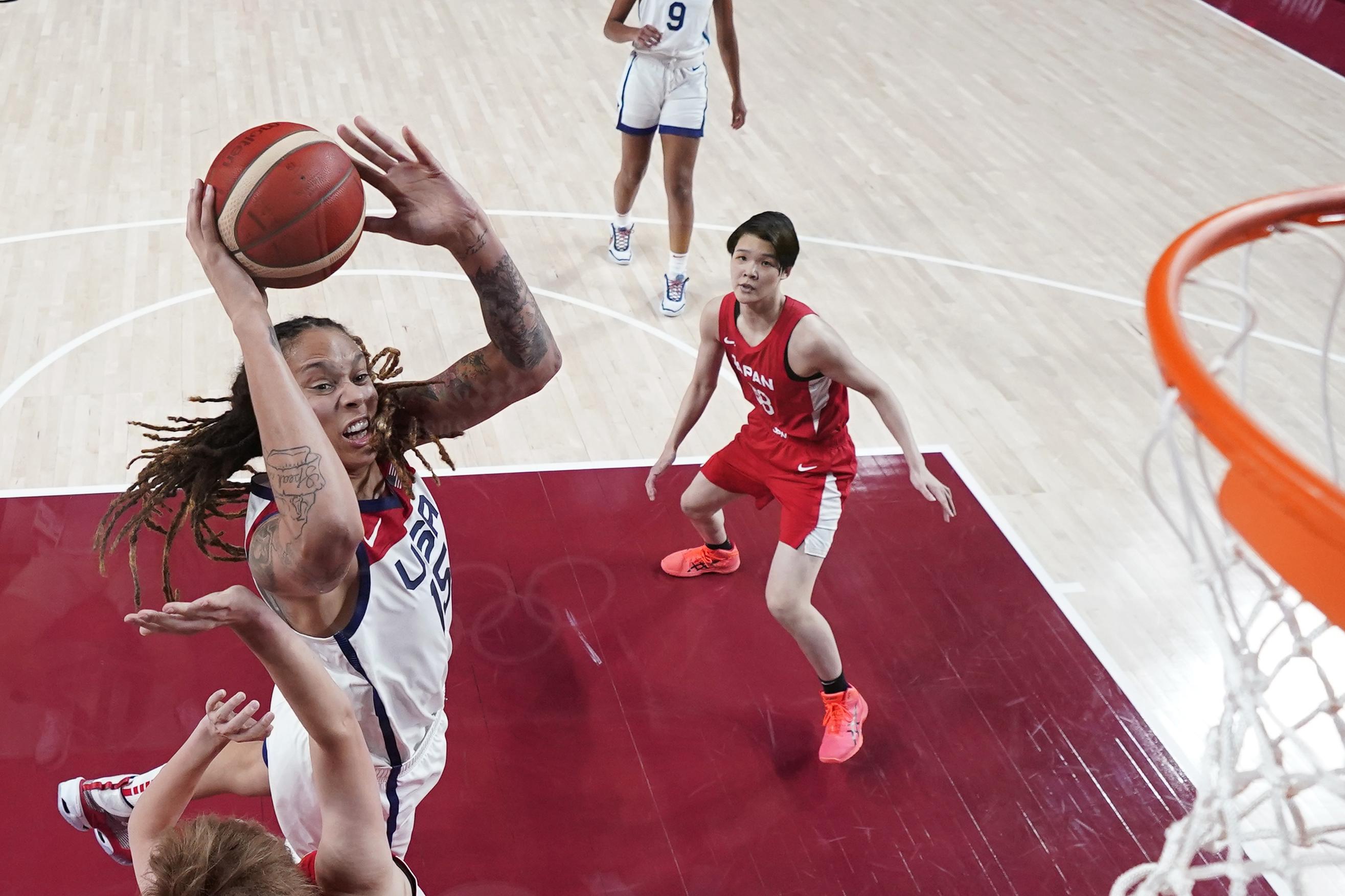 Tokyo 2020 Olympics - Basketball - Women - Group B - United States v Japan - Saitama Super Arena, Saitama, Japan - July 30, 2021. Brittney Griner of the United States in action at the rim Pool via REUTERS/Charlie Neibergall