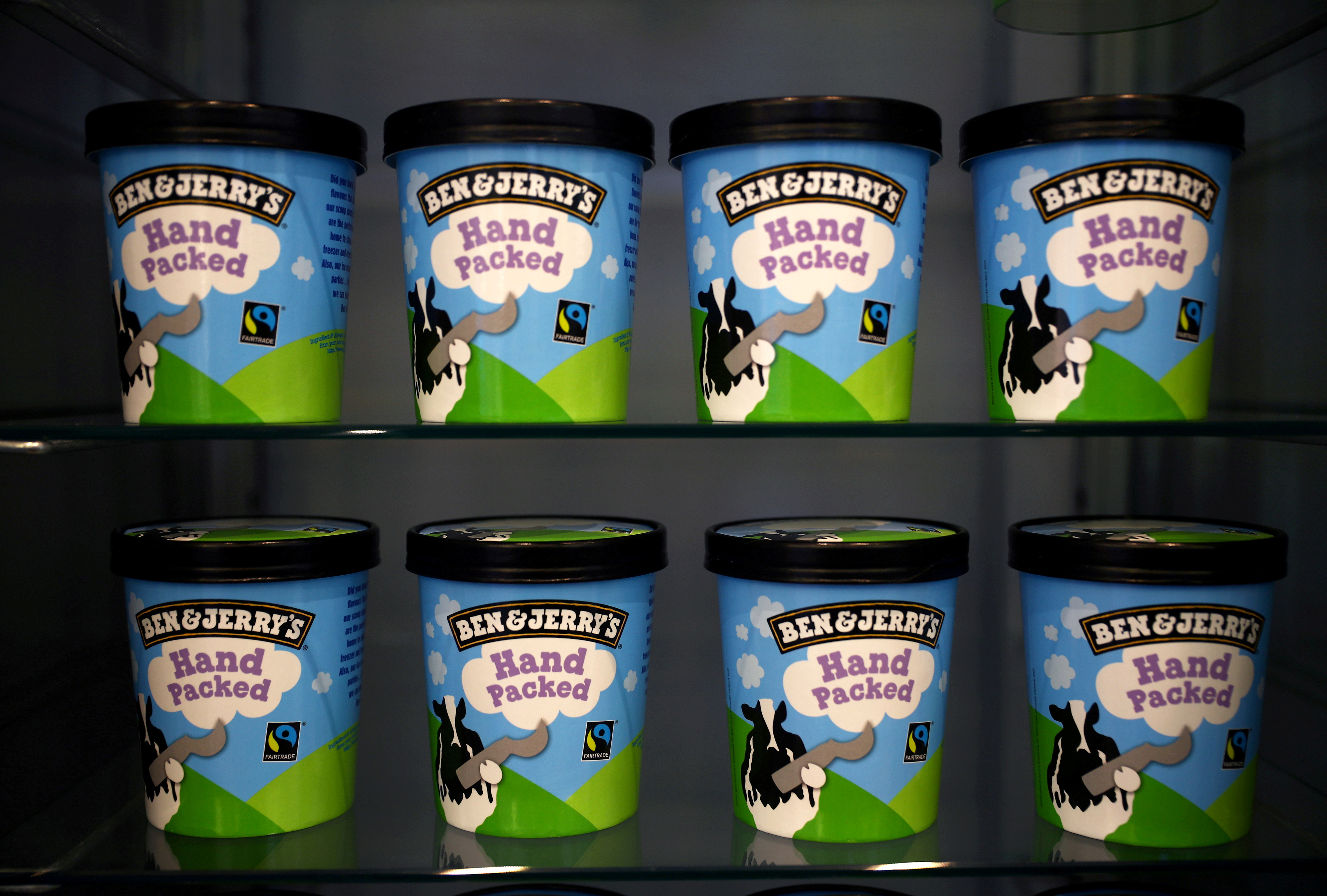Tubs of Ben & Jerry's ice cream, a Unilever brand, are seen at their shop in London, Britain, October 5, 2020. REUTERS/Hannah McKay