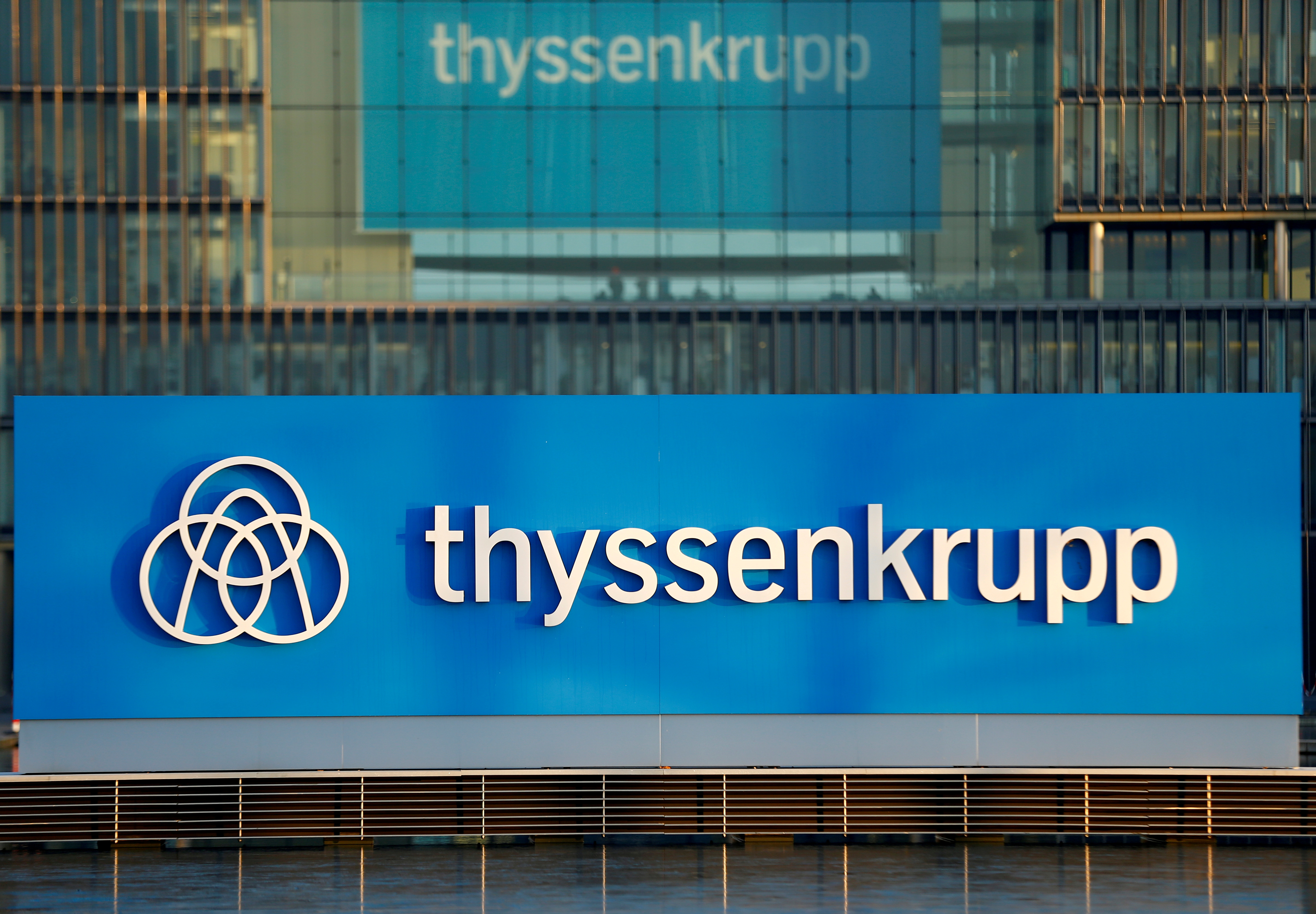 A logo of Thyssenkrupp AG is pictured at the company's headquarters in Essen, Germany, November 21, 2018. REUTERS/Thilo Schmuelgen