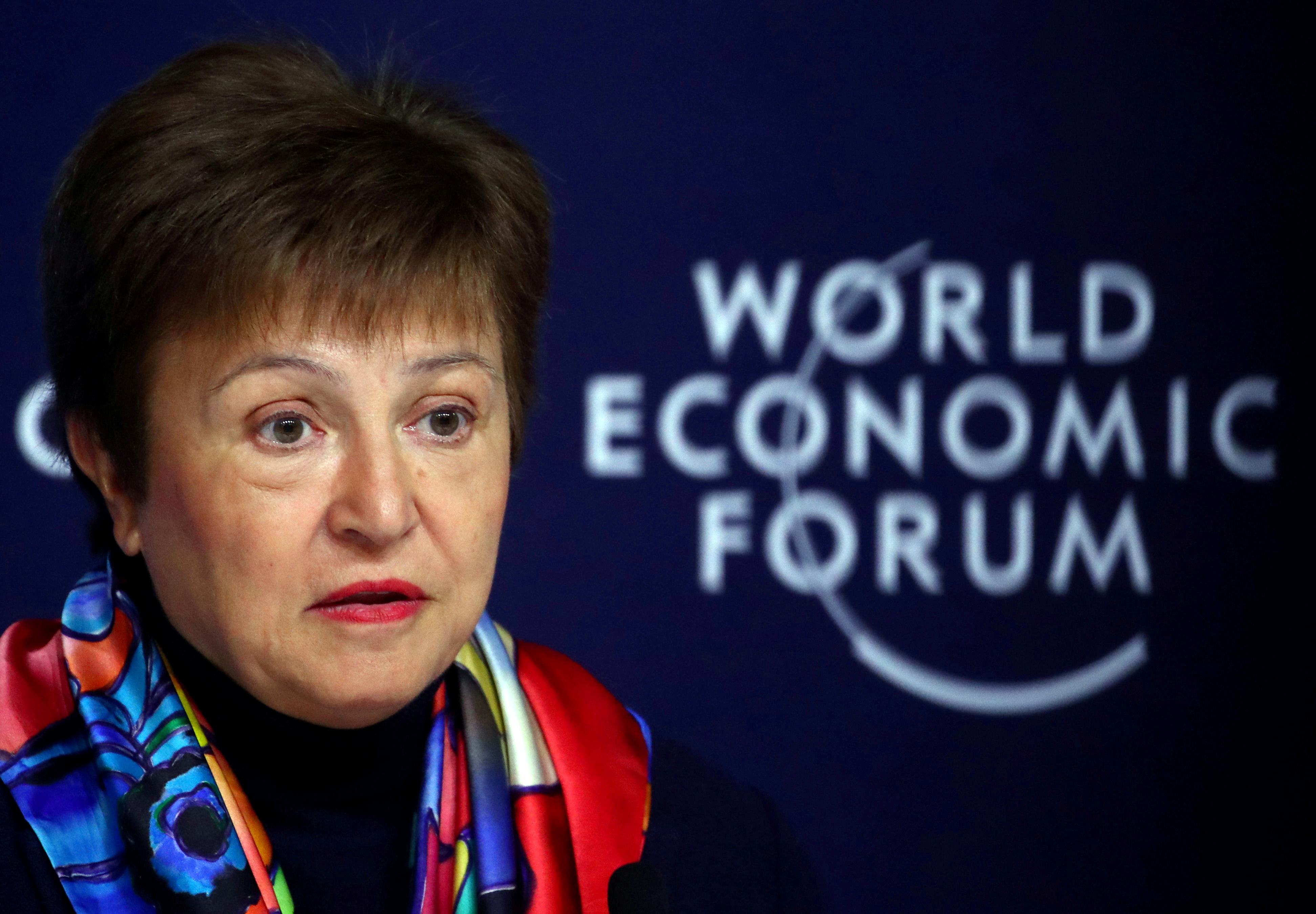 IMF Managing Director Kristalina Georgieva speaks at a news conference ahead of the World Economic Forum (WEF) in Davos, Switzerland January 20, 2020. REUTERS/Denis Balibouse/File Photo
