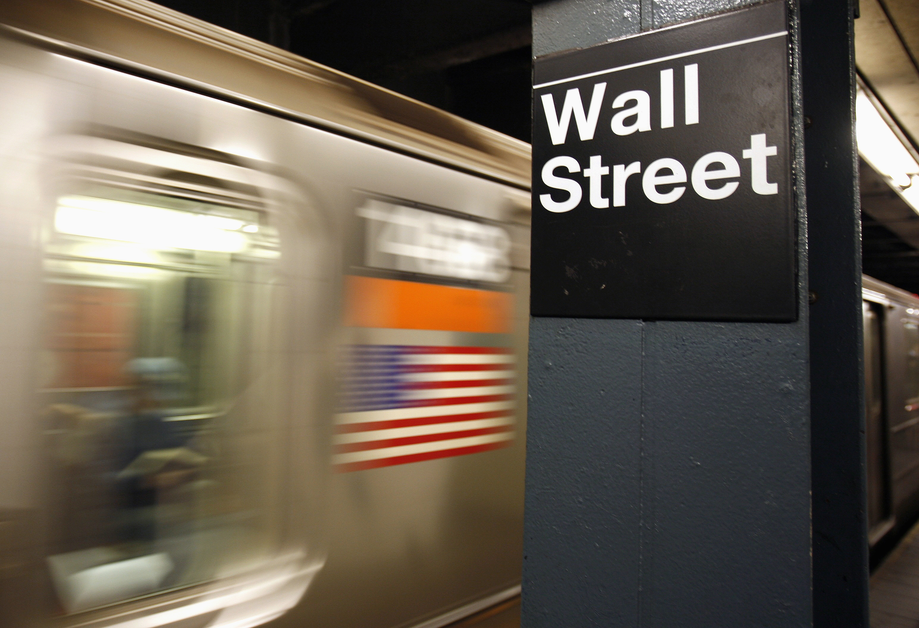 A Wall Street subway stop sign is seen in New York, October 10, 2008. REUTERS/Shannon Stapleton