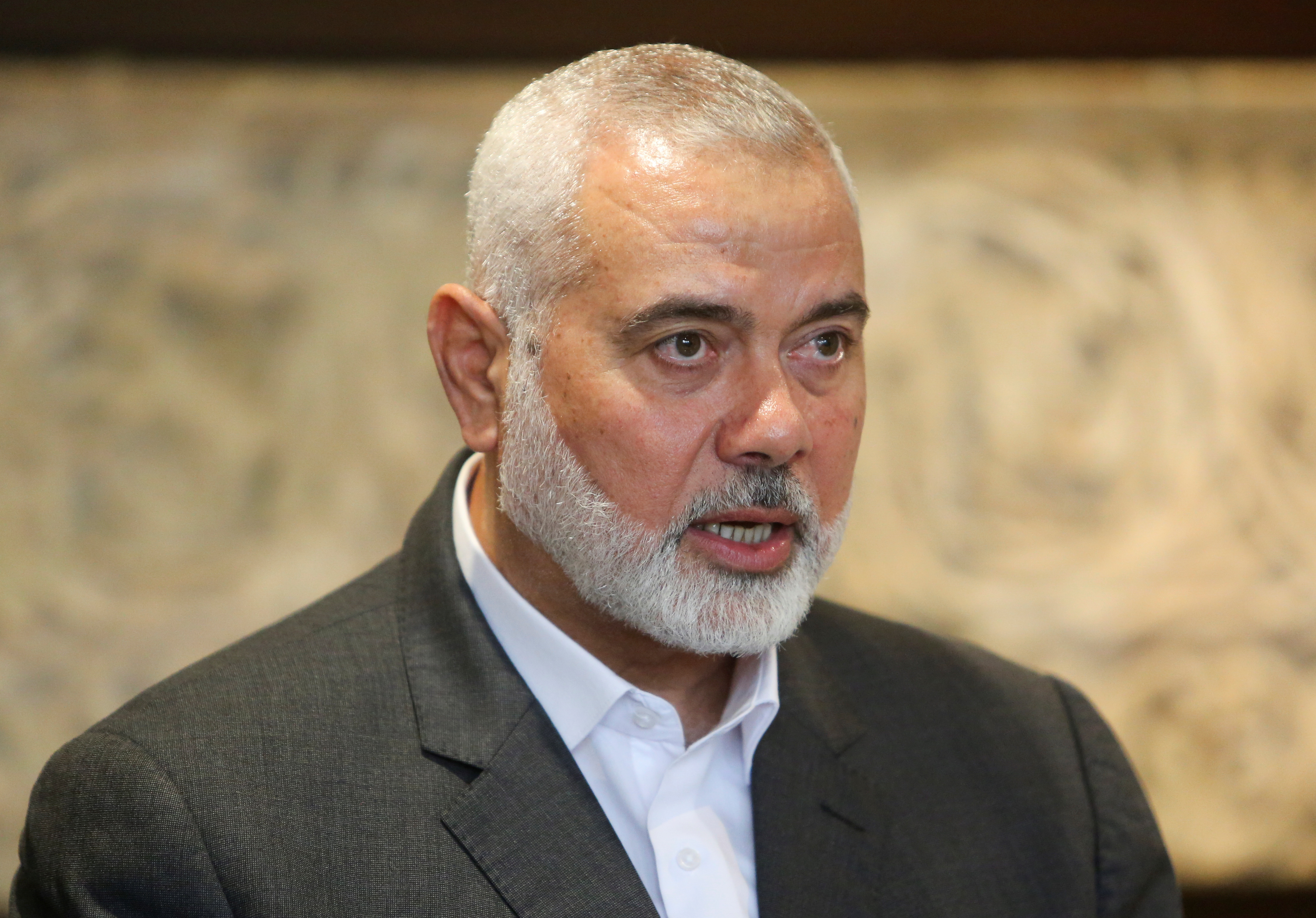 Palestinian group Hamas' top leader, Ismail Haniyeh talks after meeting with Lebanese Parliament Speaker Nabih Berri in Beirut, Lebanon June 28, 2021. REUTERS/Aziz Taher/Files