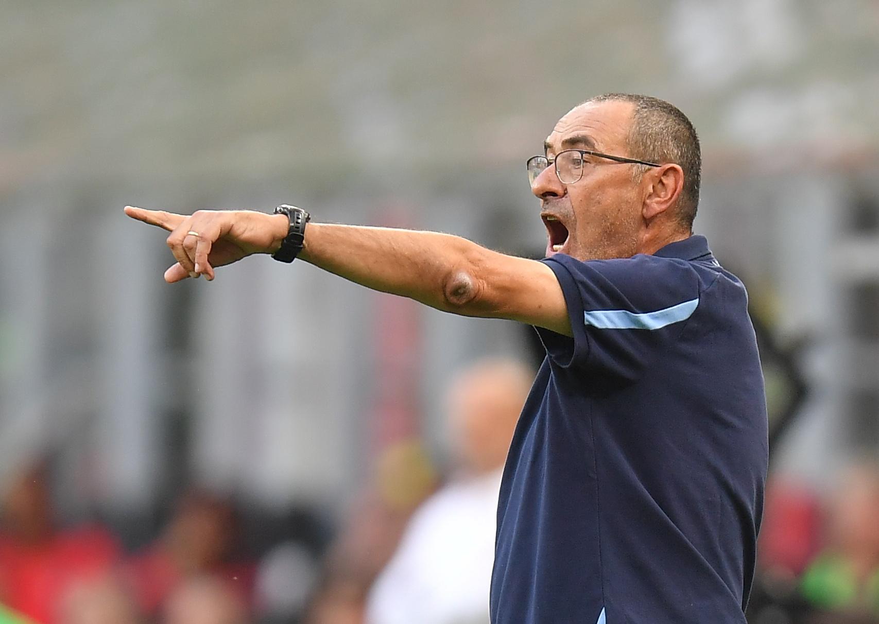 Soccer Football - Serie A - AC Milan v Lazio - San Siro, Milan, Italy - September 12, 2021 Lazio coach Maurizio Sarri reacts REUTERS/Daniele Mascolo