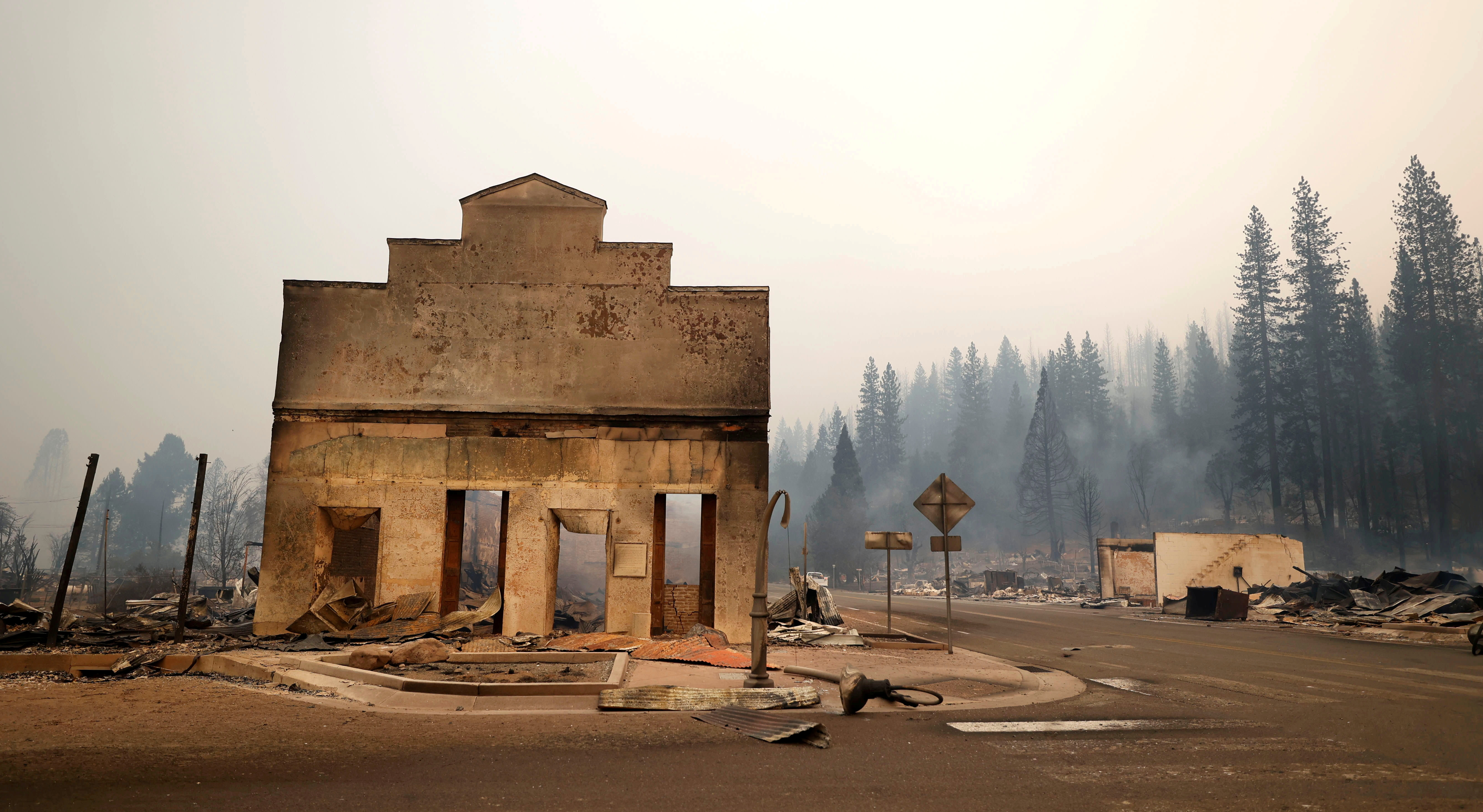 View of a burned out commercial building following the Dixie Fire, a wildfire that tore through the town of Greenville, California, U.S. August 5, 2021. REUTERS/Fred Greaves