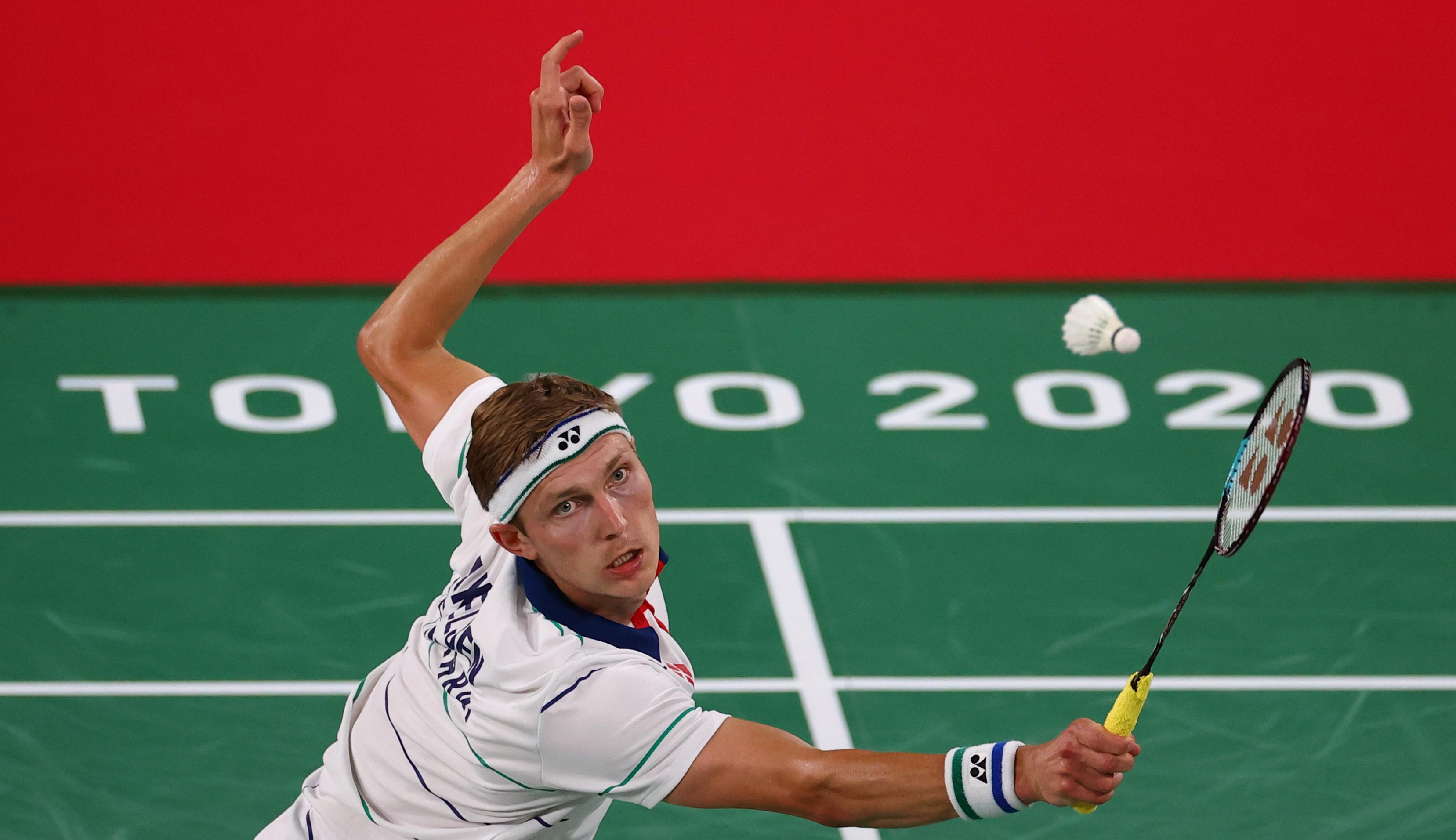 Tokyo 2020 Olympics - Badminton - Men's Singles - Group Stage - MFS - Musashino Forest Sport Plaza, Tokyo, Japan - July 24, 2021. Viktor Axelsen of Denmark in action during the match against Luka Wraber of Austria. REUTERS/Leonhard Foeger