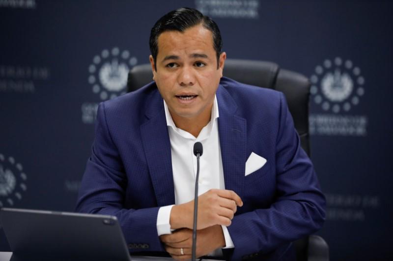 El Salvador's Finance Minister Alejandro Zelaya speaks during a news conference in San Salvador, El Salvador June 16, 2021. REUTERS/Jose Cabezas