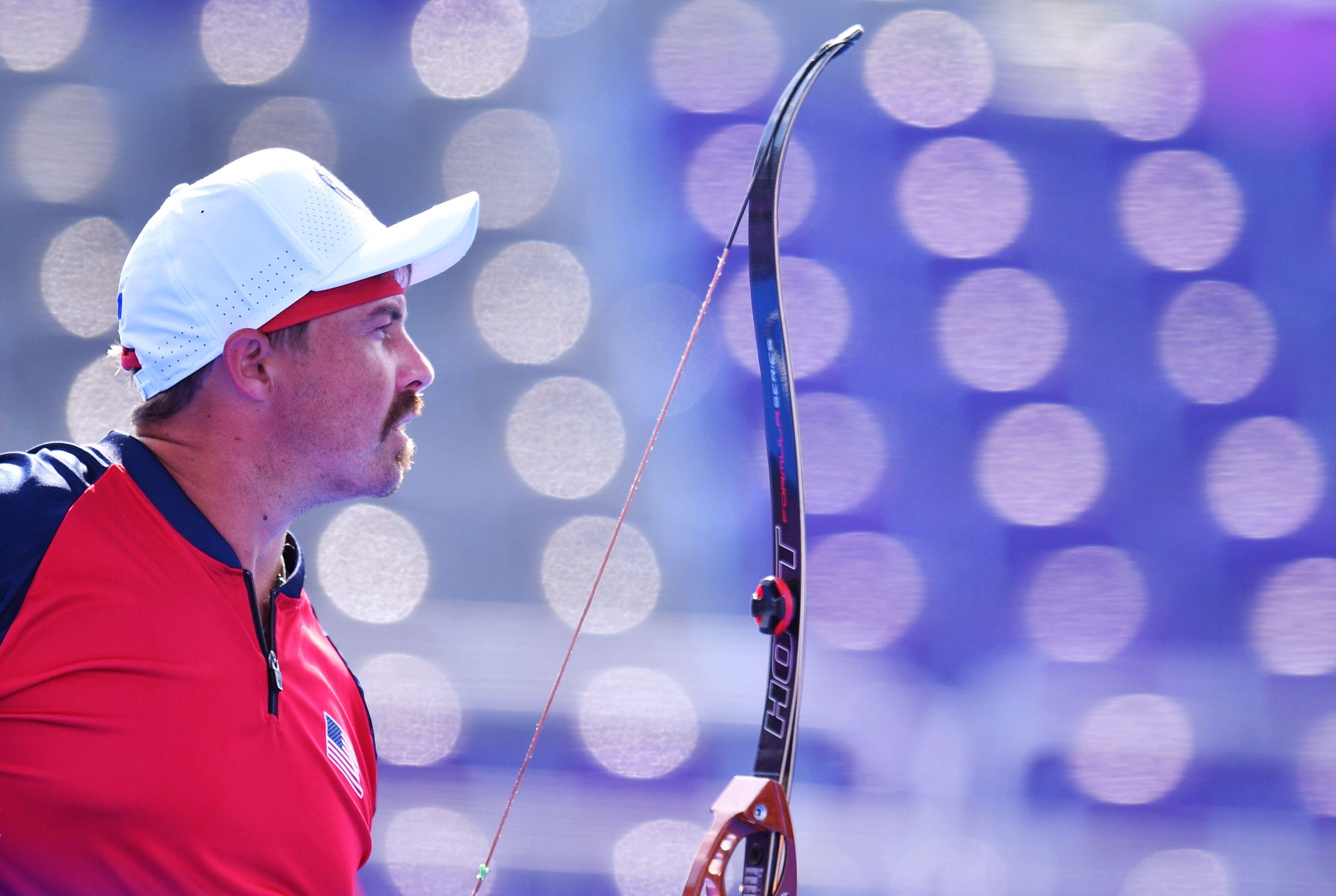 Tokyo 2020 Olympics - Archery - Men's Individual - Quarterfinals - Yumenoshima Archery Field, Tokyo, Japan - July 31, 2021.  Brady Ellison of the United States during competition REUTERS/Clodagh Kilcoyne