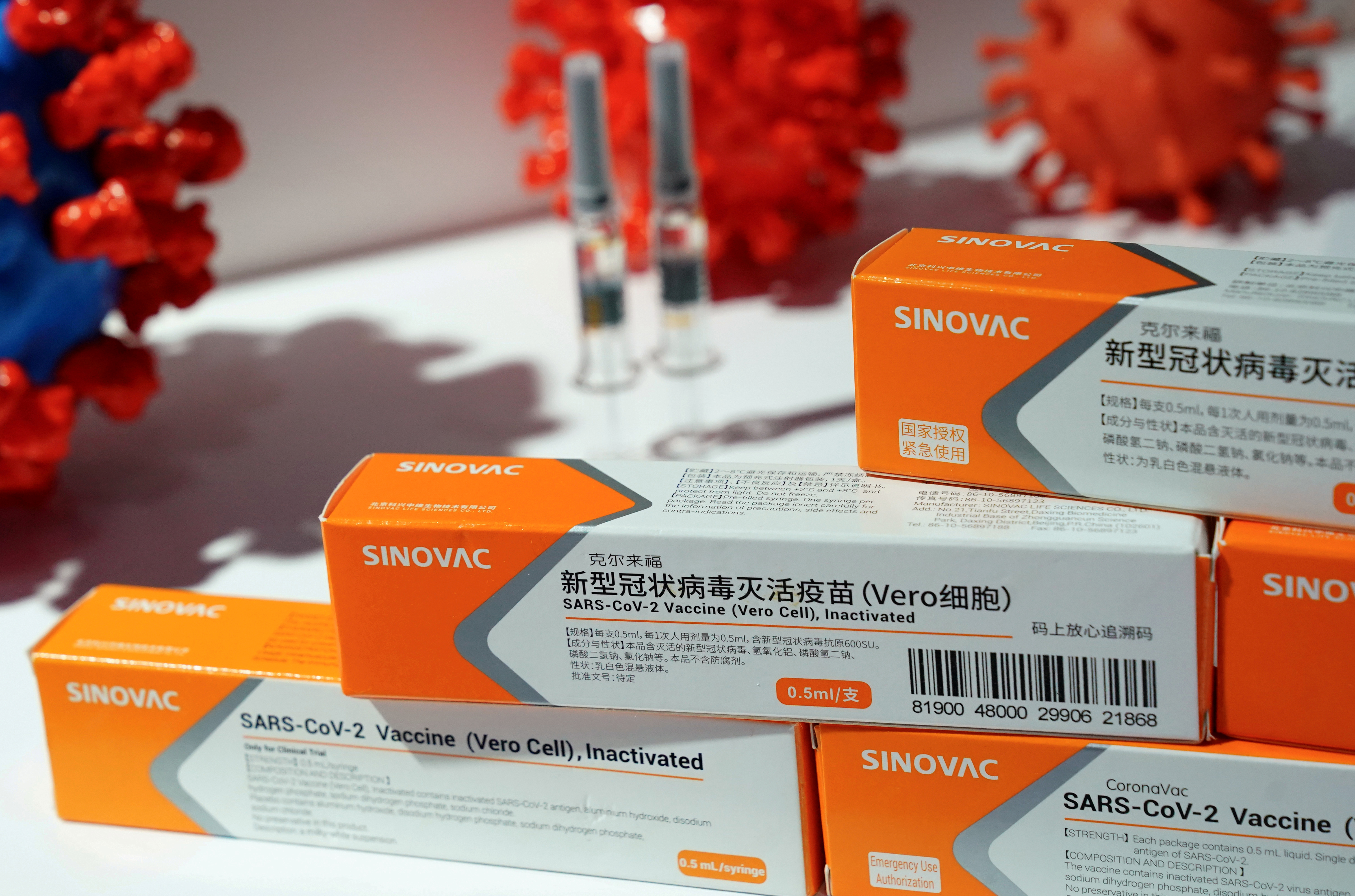 A booth displaying a coronavirus vaccine candidate from Sinovac Biotech Ltd is seen at the 2020 China International Fair for Trade in Services (CIFTIS), following the COVID-19 outbreak, in Beijing, China September 4, 2020. REUTERS/Tingshu Wang