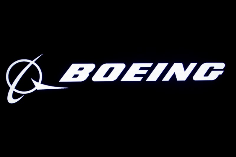 The Boeing logo is displayed on a screen at the New York Stock Exchange (NYSE) in New York, U.S., August 7, 2019. REUTERS/Brendan McDermid/File Photo