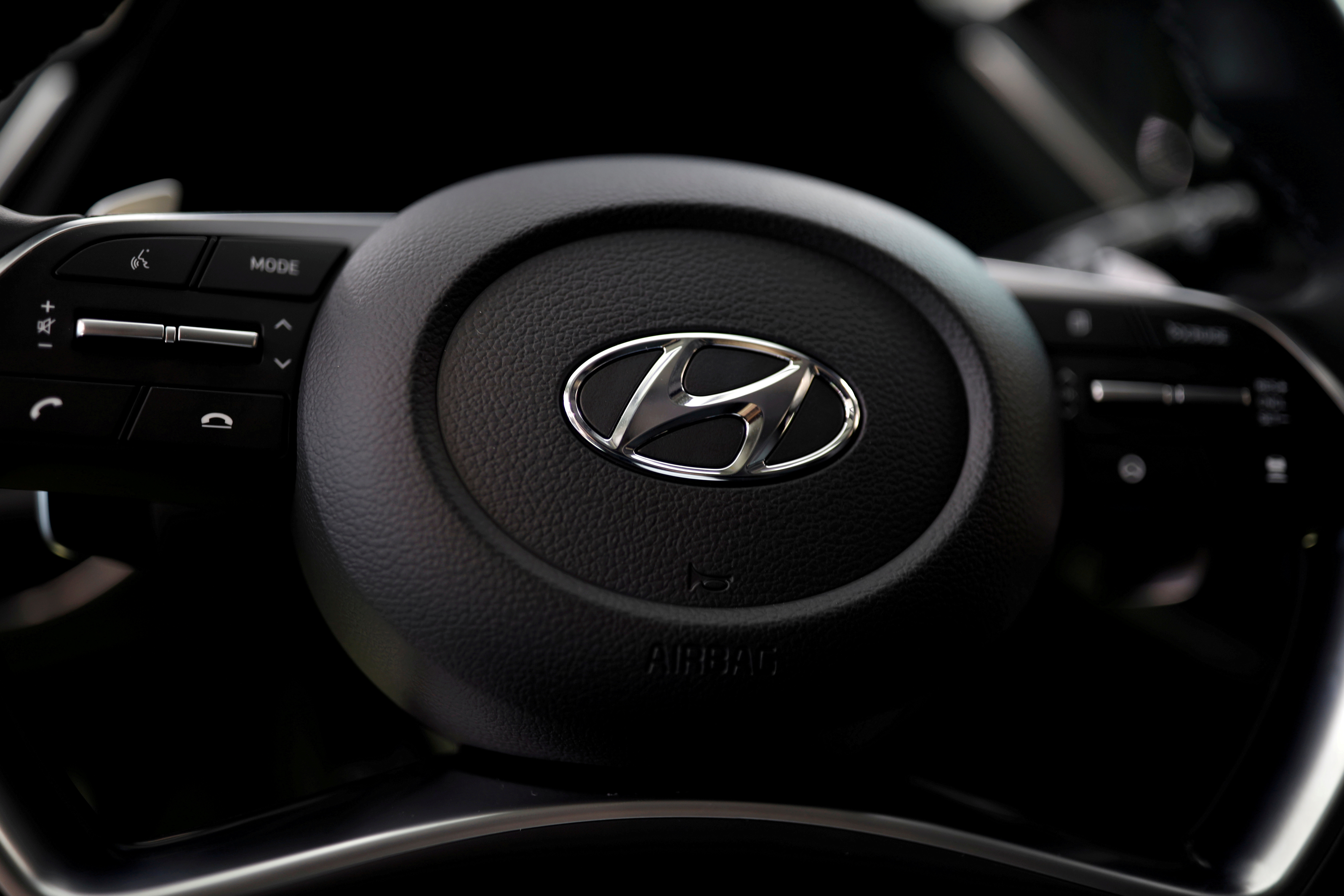 The logo of Hyundai Motors is seen on a steering wheel on display at the company's headquarters in Seoul, South Korea, March 22, 2019. REUTERS/Kim Hong-Ji
