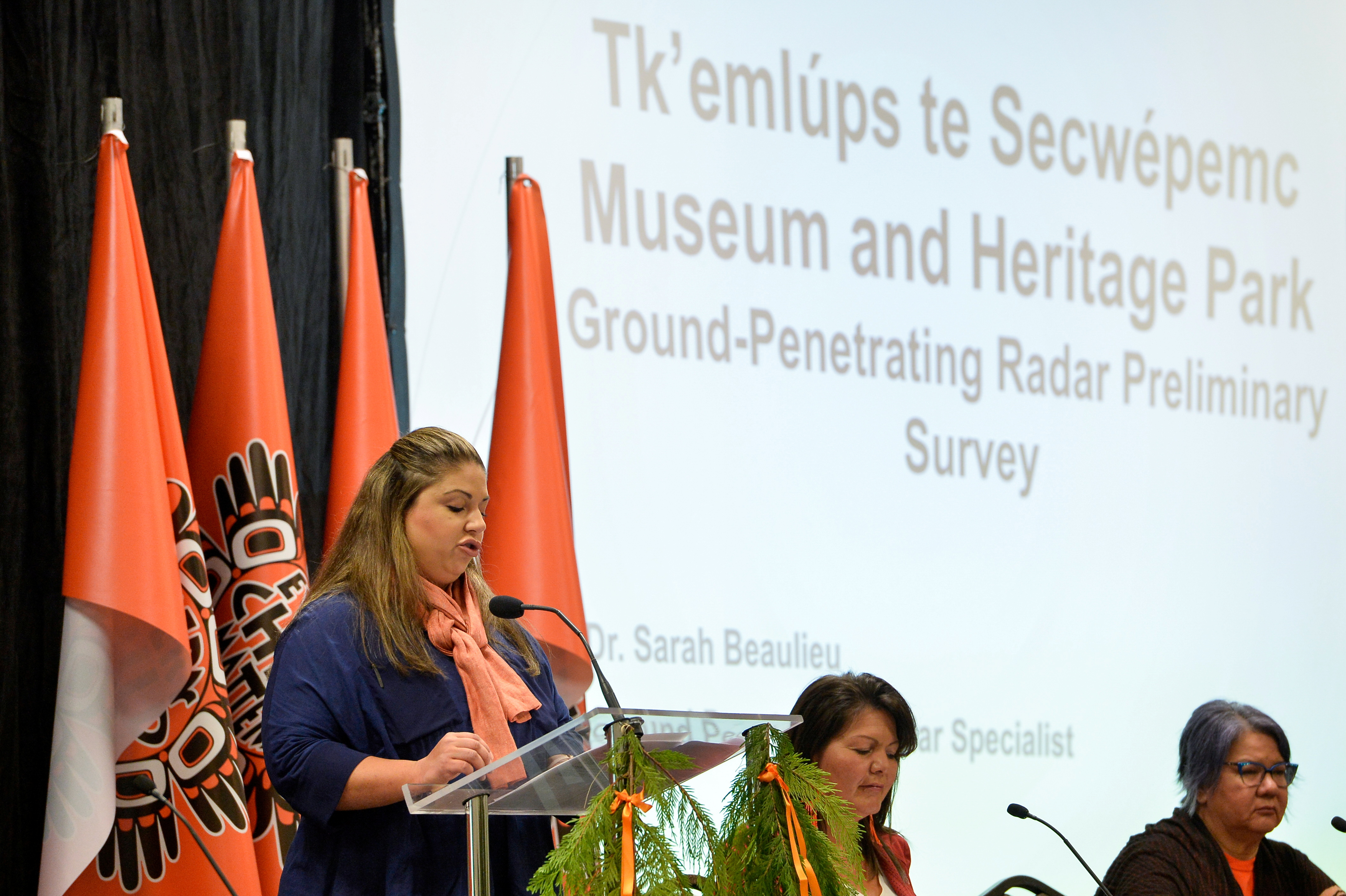 GPR specialist Dr. Sarah Beaulieu presents the findings on 215 unmarked graves discovered at Kamloops Indian Residential School in Kamloops, British Columbia, Canada, July 15, 2021.  REUTERS/Jennifer Gauthier
