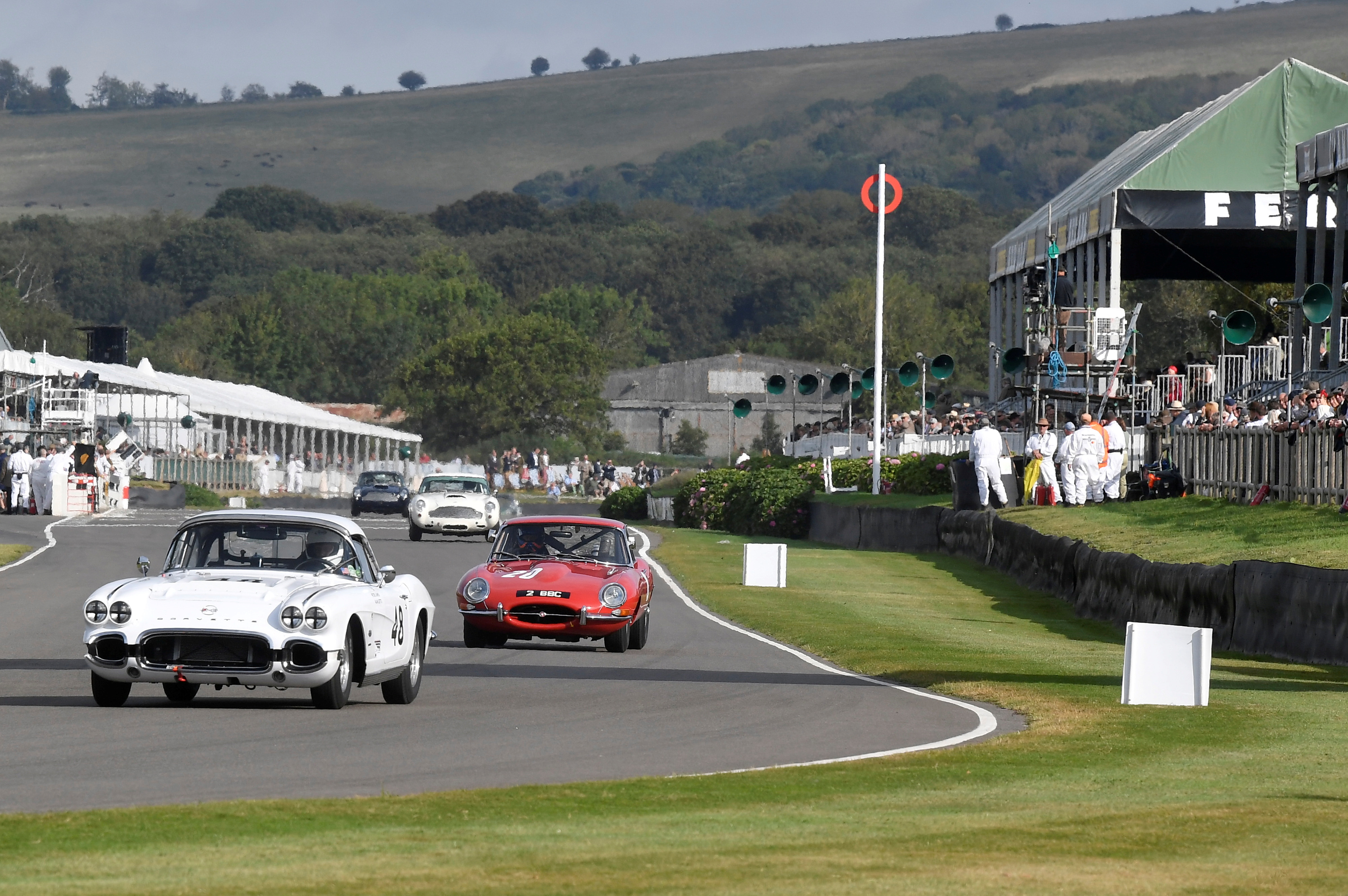 Motoring enthusiasts attend the Goodwood Revival, a three-day historic car racing festival in Goodwood, Chichester, southern Britain, September 17, 2021. REUTERS/Toby Melville/File Photo